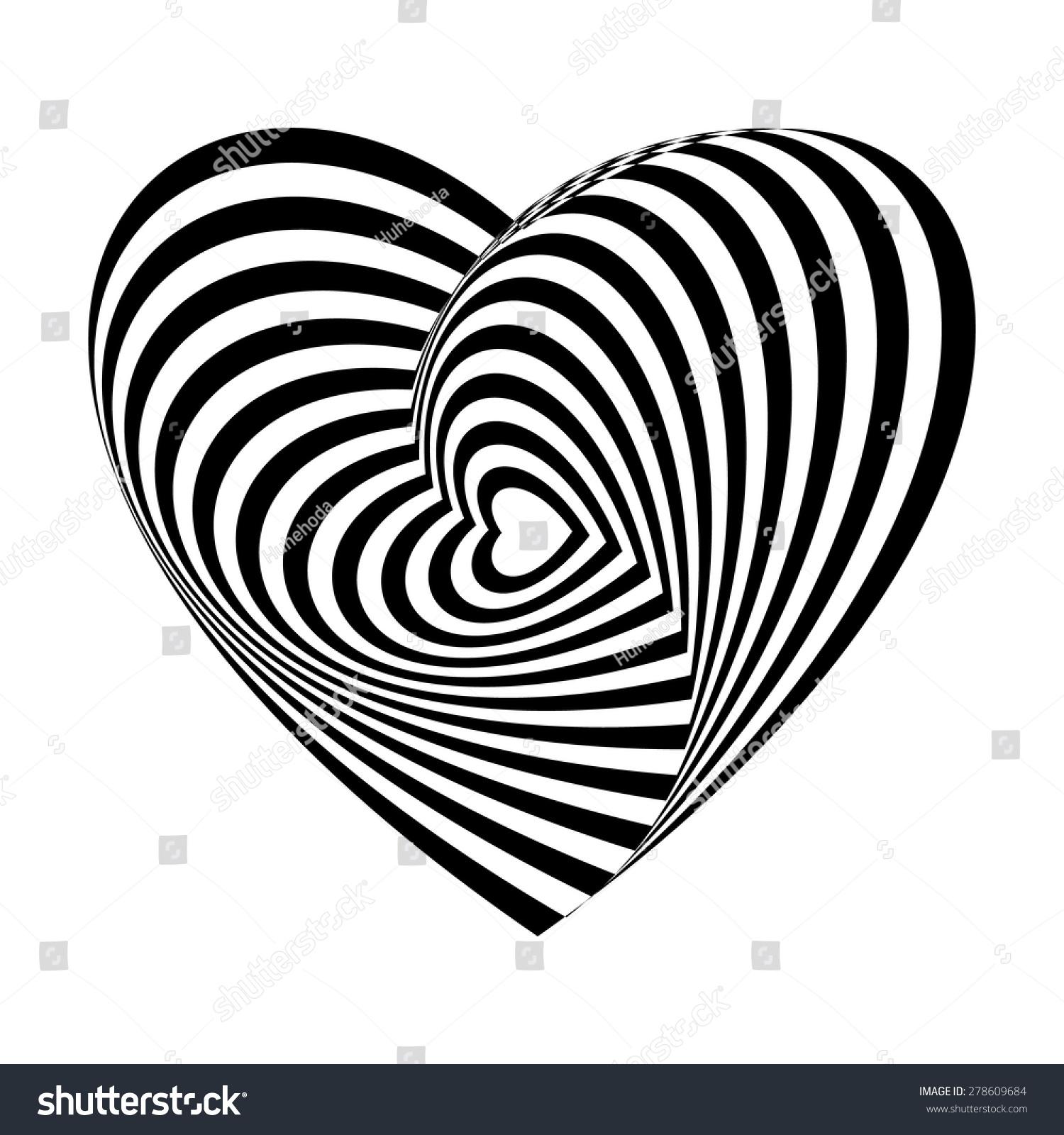 Geometric optical illusion black white heart stock vector for Geometric illusion art