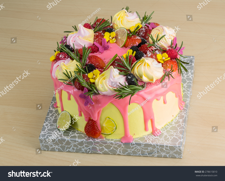 Cake Meringue Strawberries Lime Rosemary Stock Photo ...
