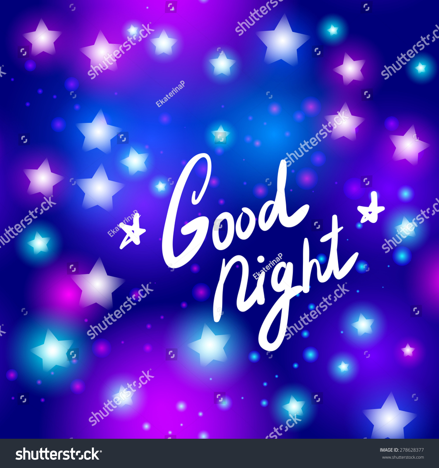 Good Night Letter Abstract Neon Star On Blue Background Vector