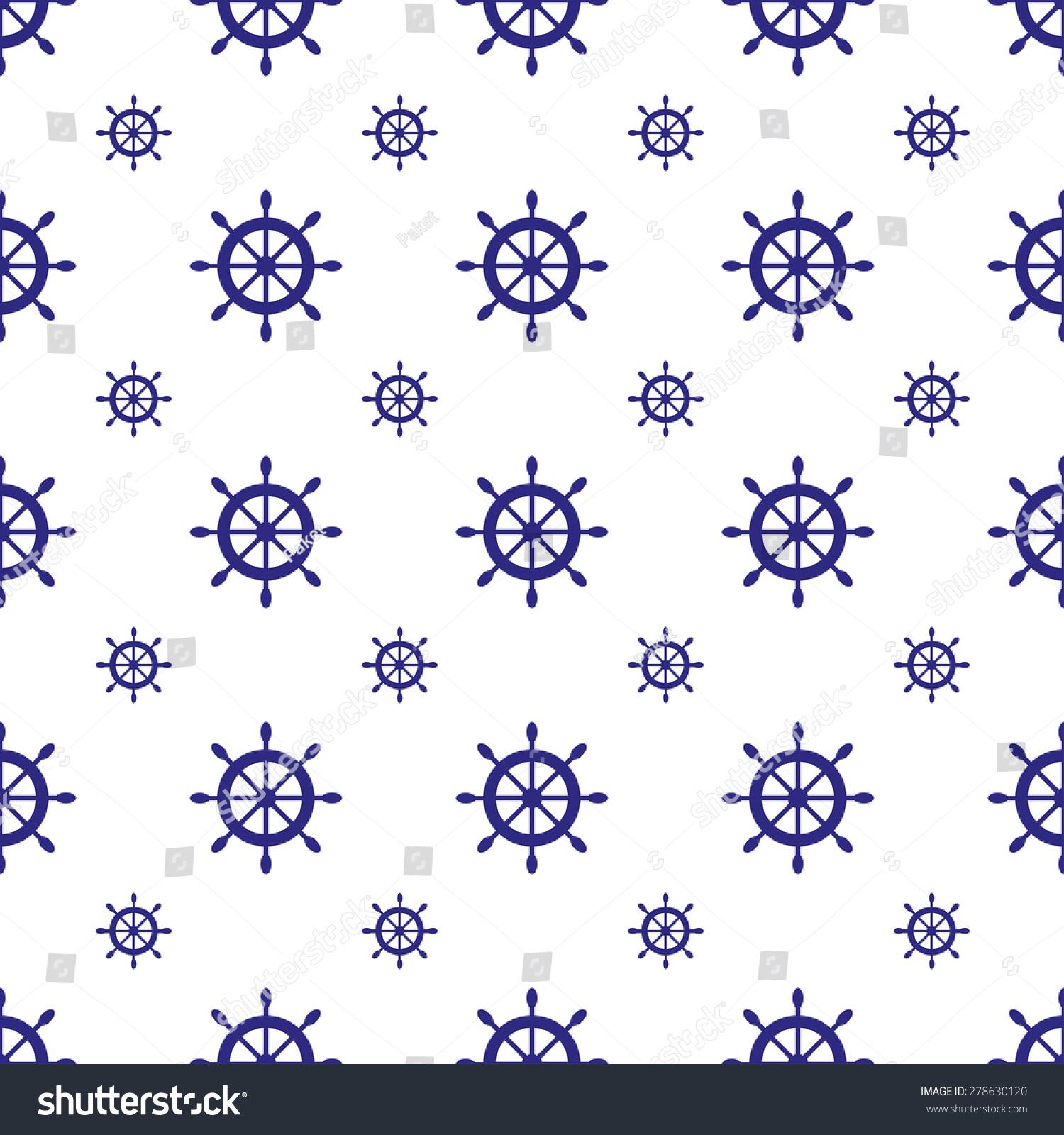 Seamless Nautical Pattern Ship Wheels Design Stock Vector