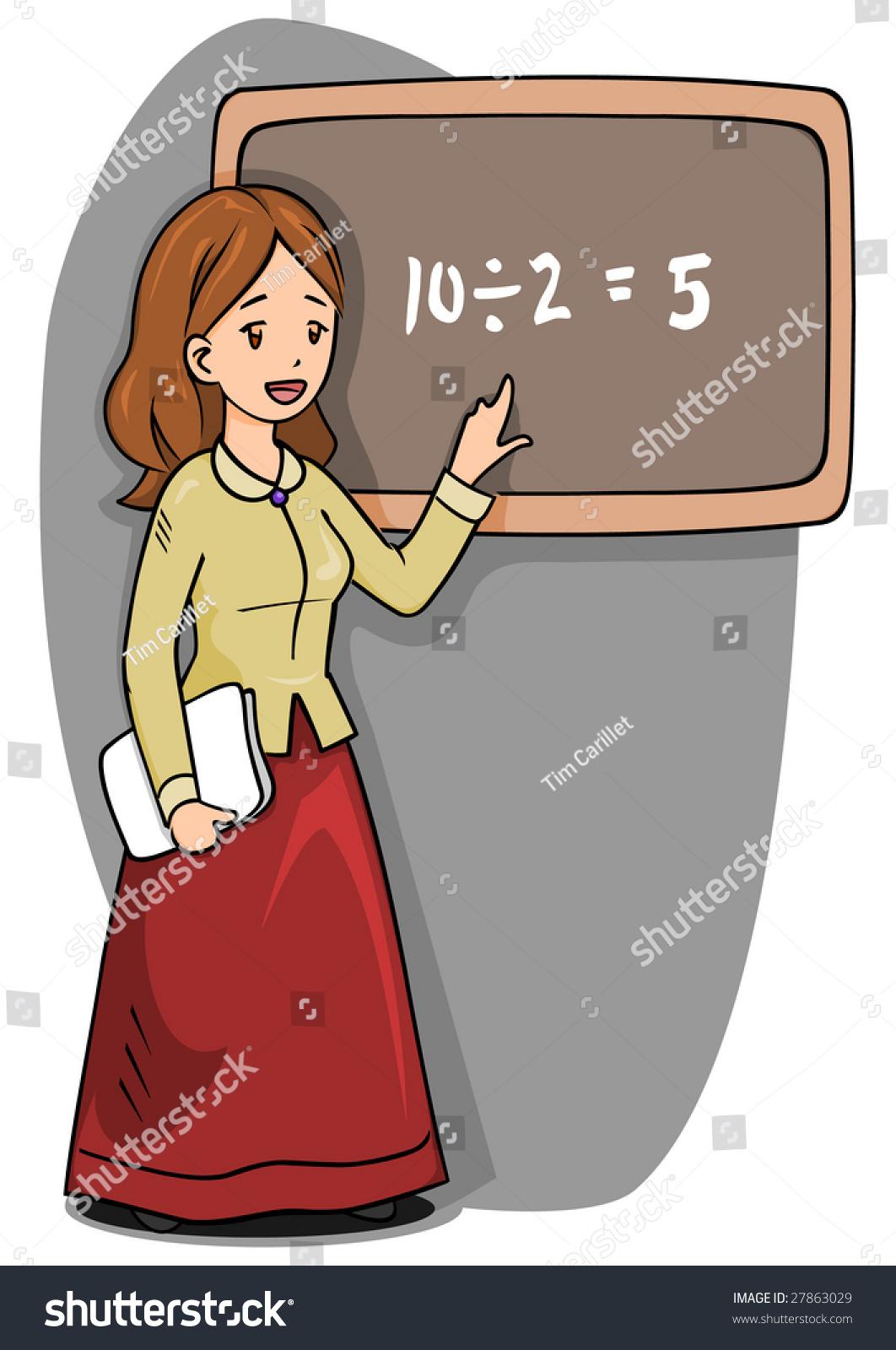 cartoon woman teacher front blackboard stock illustration