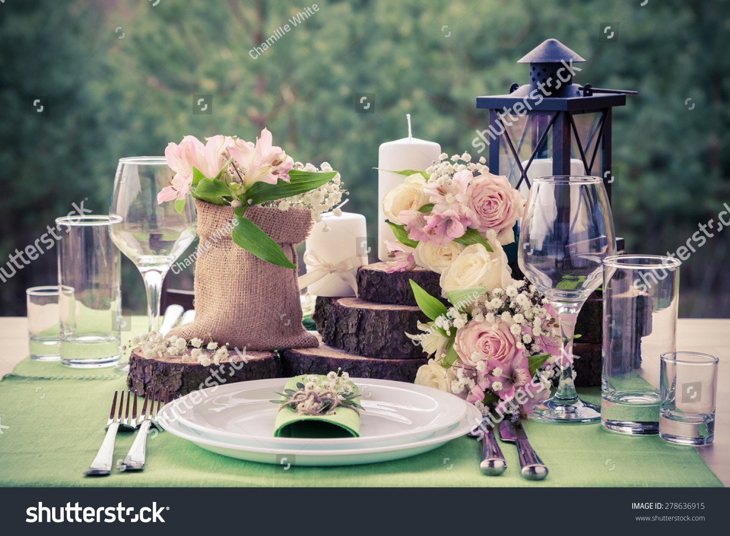 Wedding table setting in rustic style. & Wedding Table Setting Rustic Style Stock Photo (Royalty Free ...
