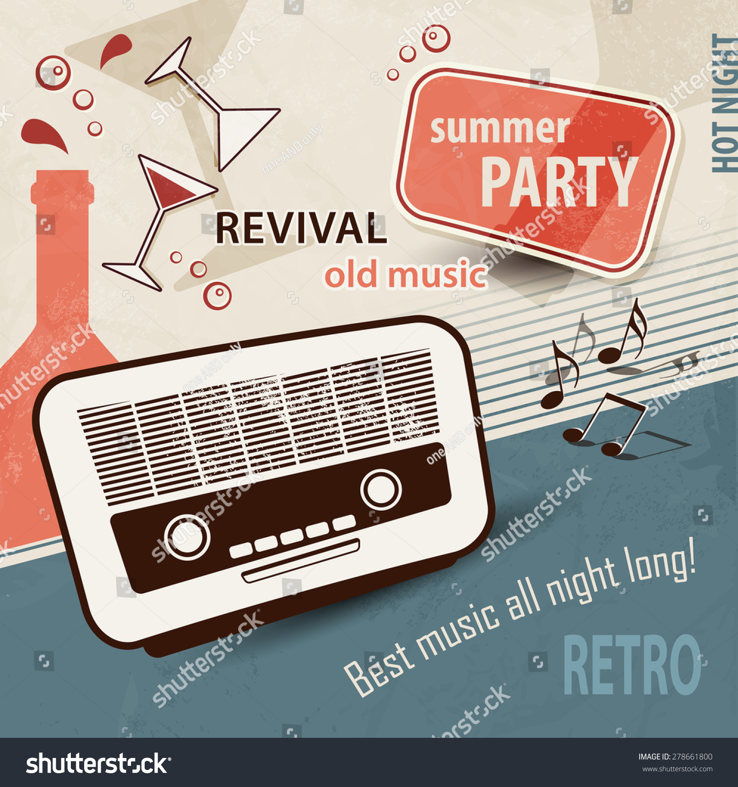 Poster design 50s - 50s Retro Background Music Poster With Old Radio Party Invitation