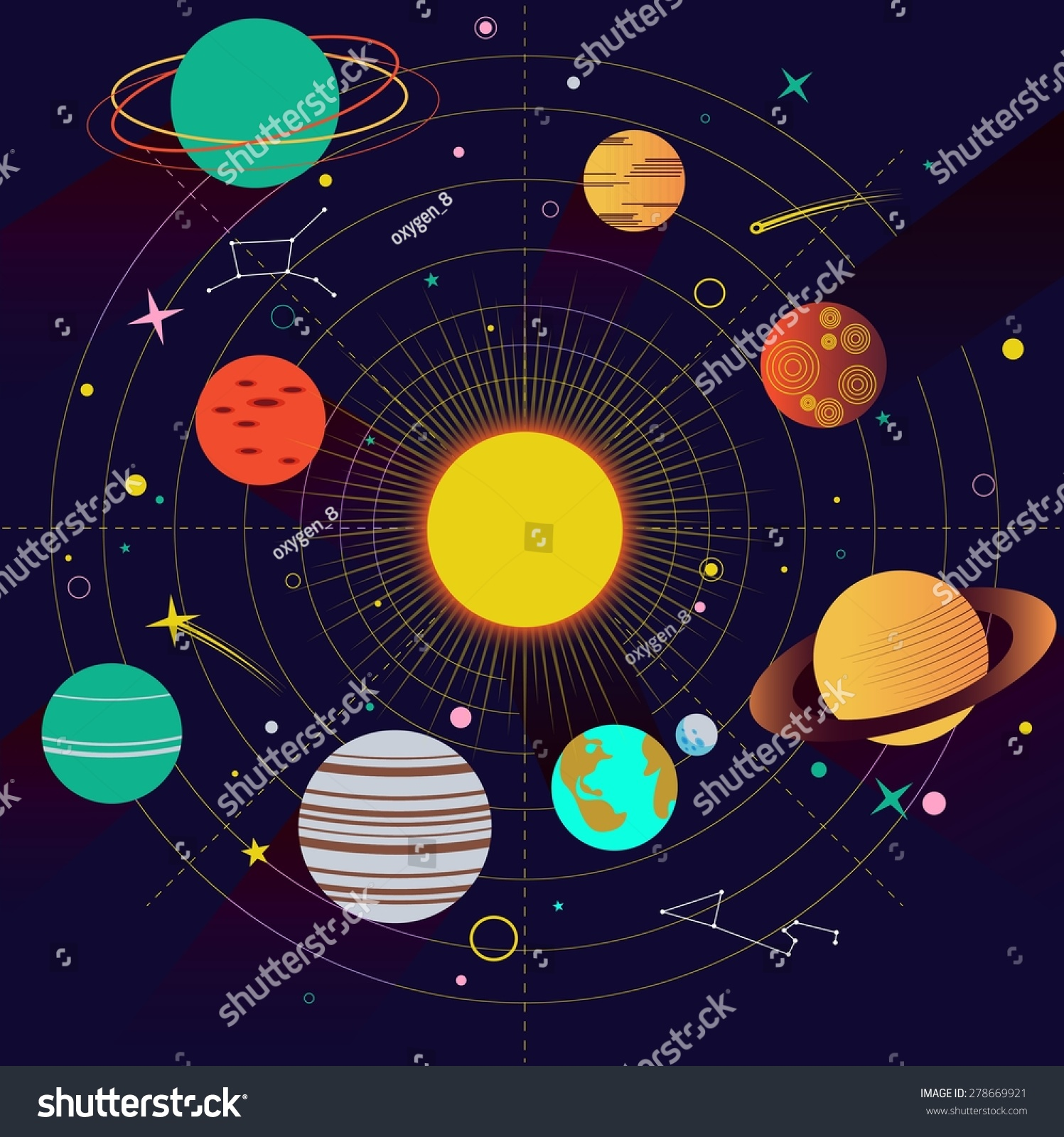 Abstract Universe Wallpaper In Flat Design Style With Solar System And Planet Comparison Rocket Space