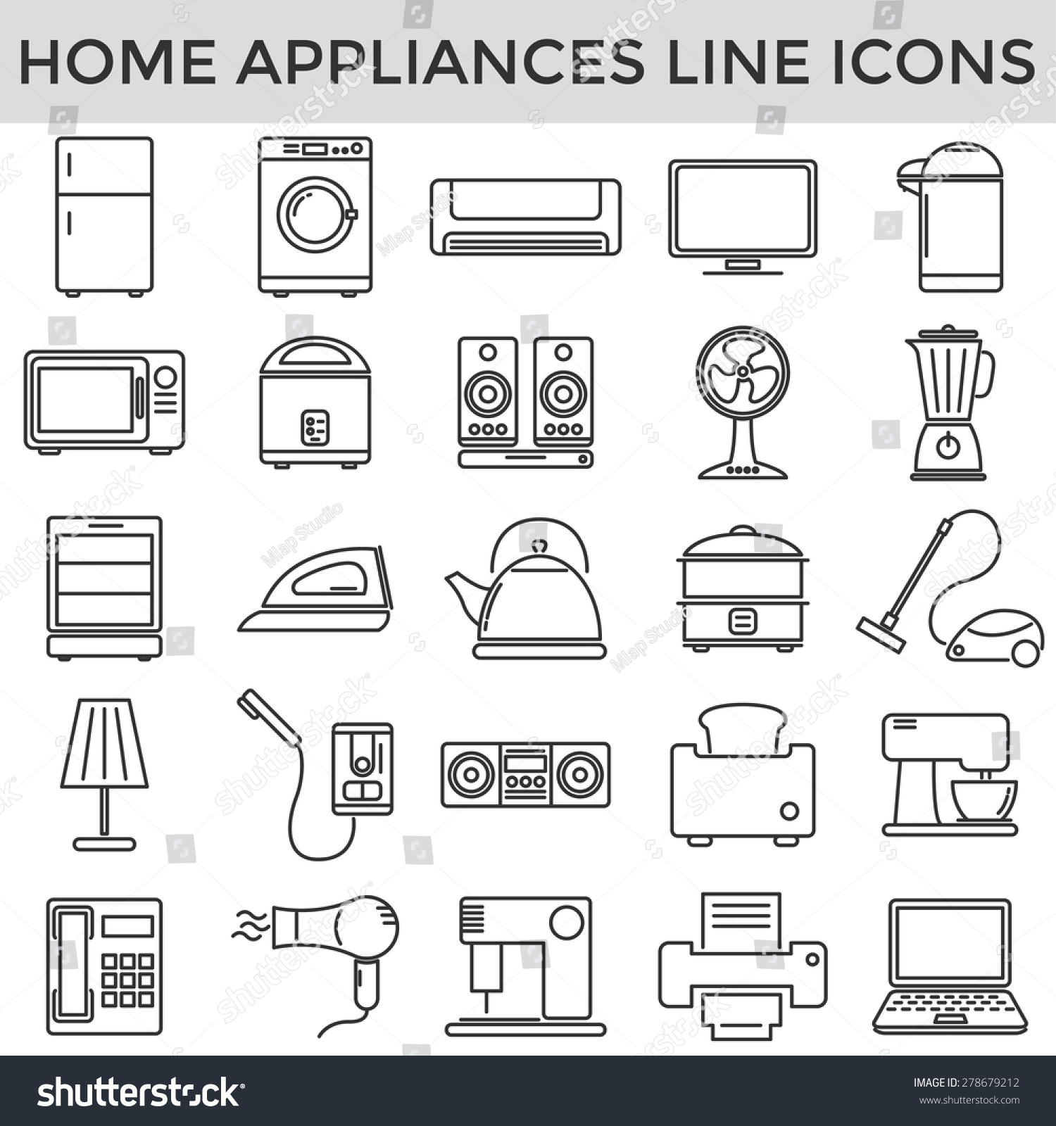 Electric Home Appliance Line Symbol Icons Stock Photo Photo Vector