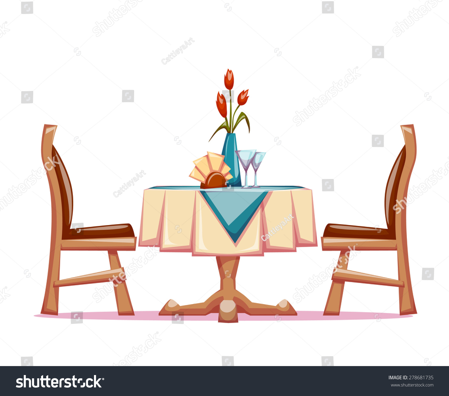 Vector Illustration Restaurant Table Two Chairs Stock