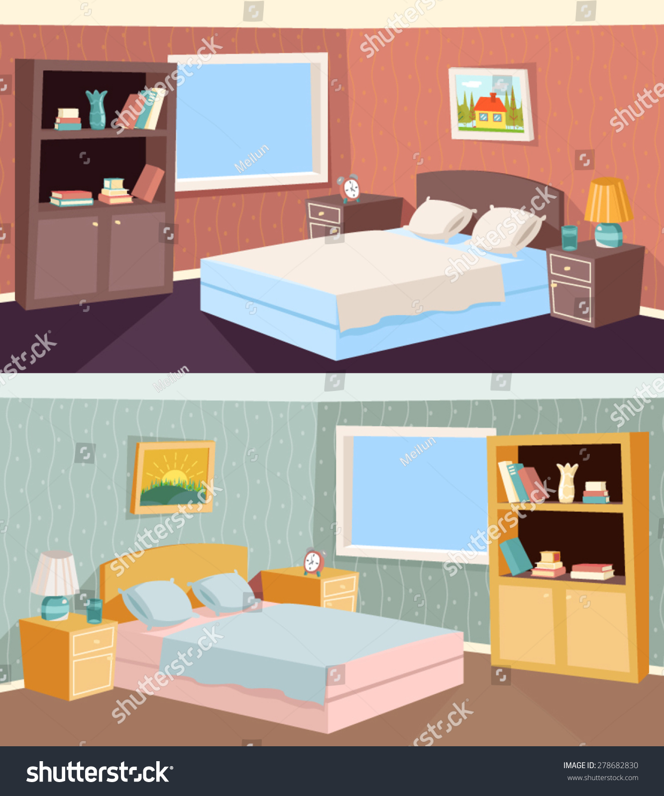 cartoon bedroom apartment living room interior house room retro