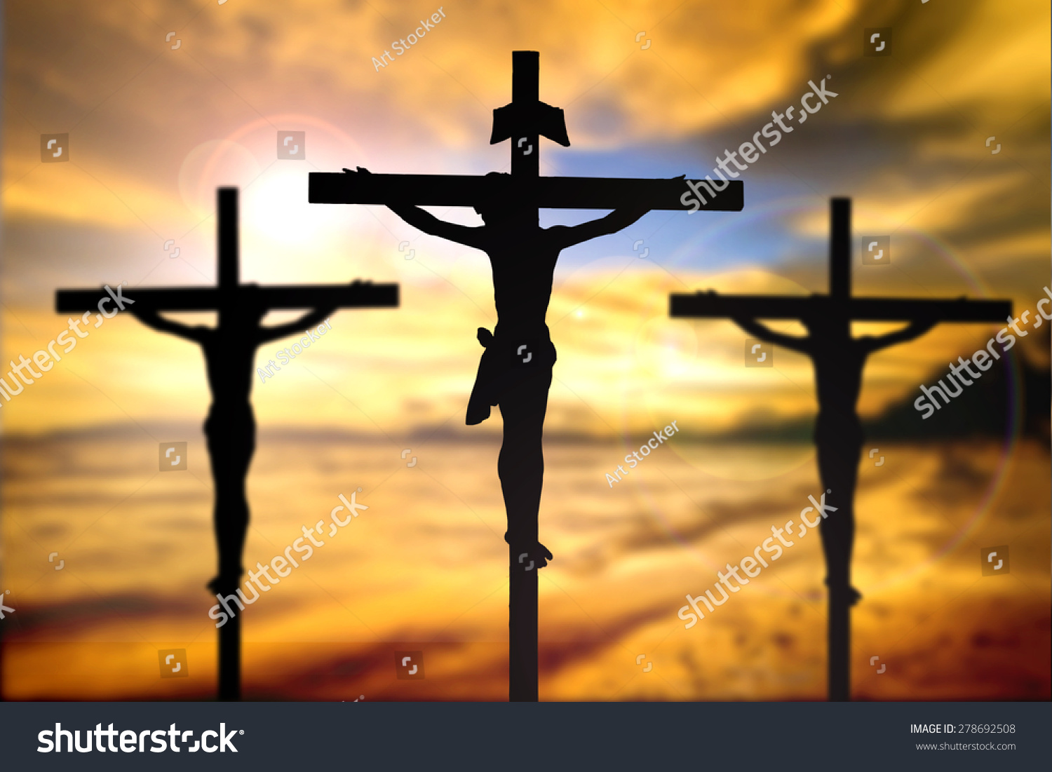 silhouette jesus christ on cross background stock photo 278692508
