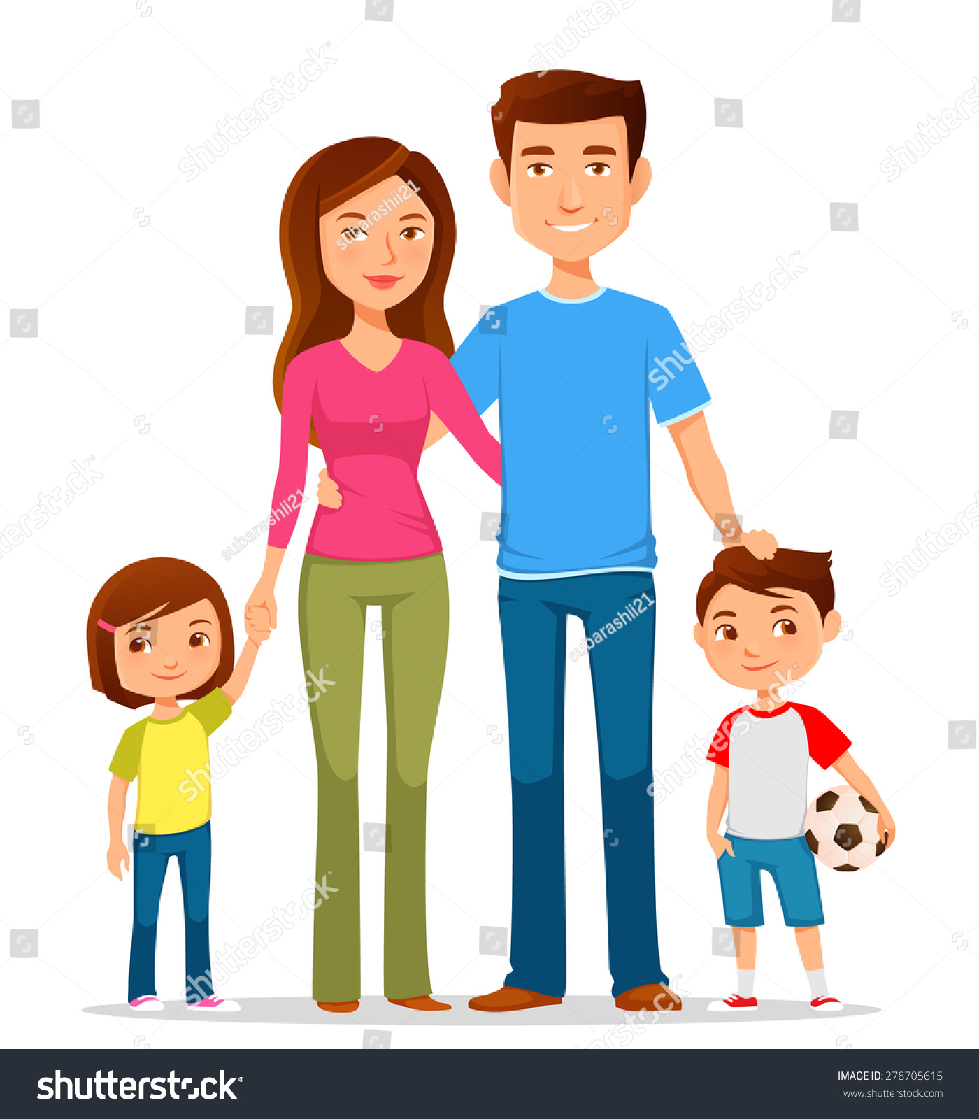 cute cartoon family in colorful clothes stock vector illustration