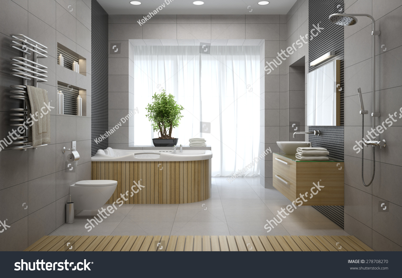 Interior Of The Modern Design Bathroom 3d Rendering Stock