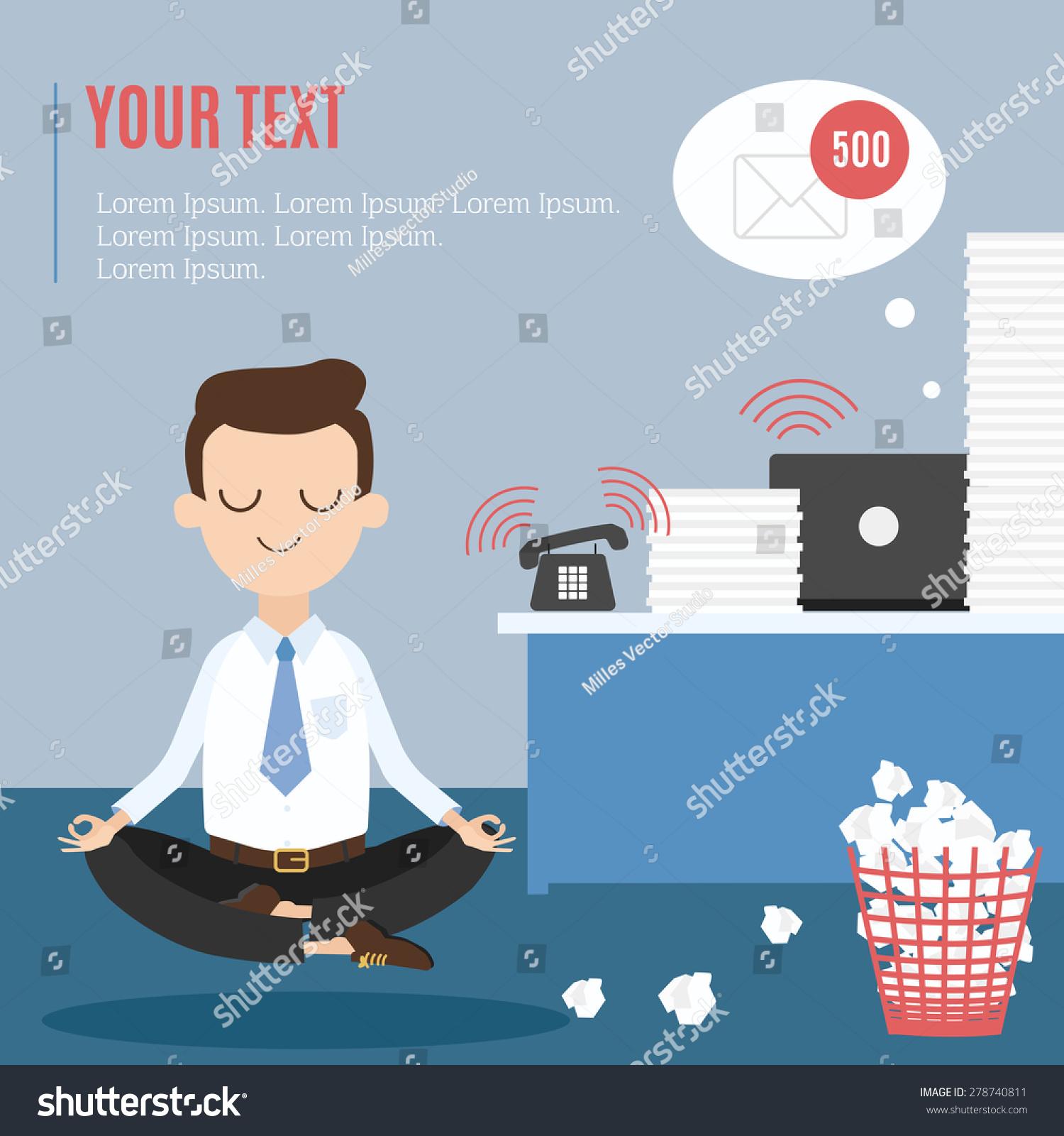 meditation businessman office. Businessman Thinking During Meditation At Office, Cartoon Flat Vector Background Office