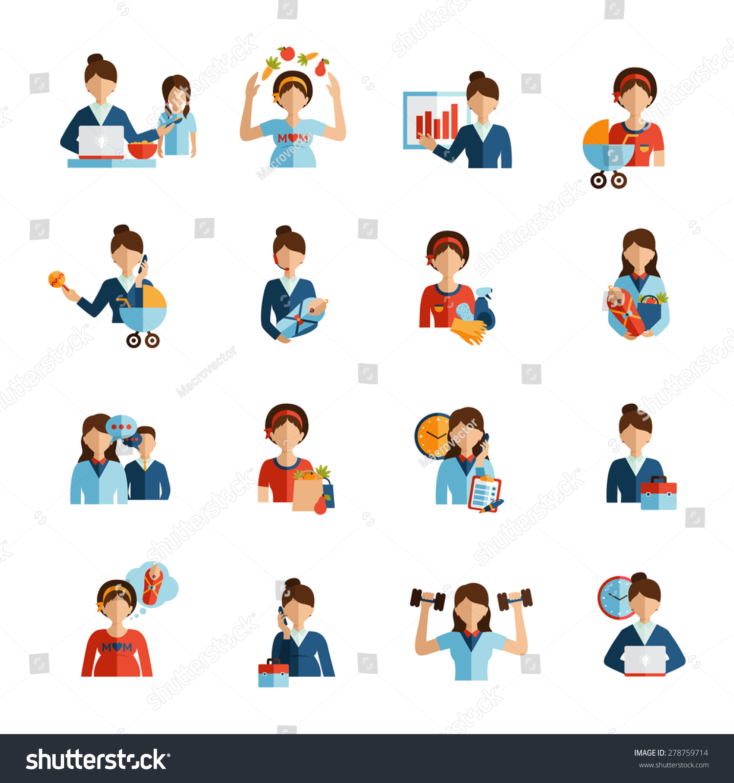 businessw mother daily routine successful work stock vector businessw mother daily routine successful work family and fitness combination flat icons set abstract vector isolated