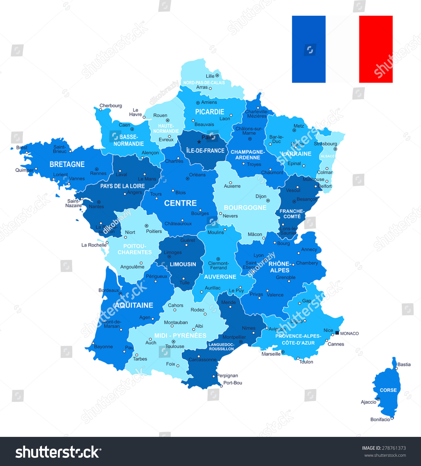 France Map Flag Illustration image Contains Next Stock Vector
