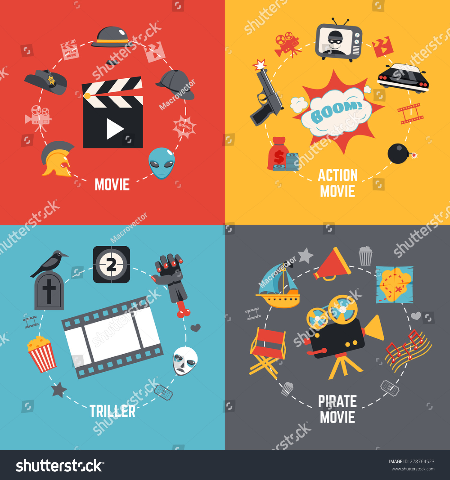 Film Design Concept Set Action Pirate Stock Vector ...