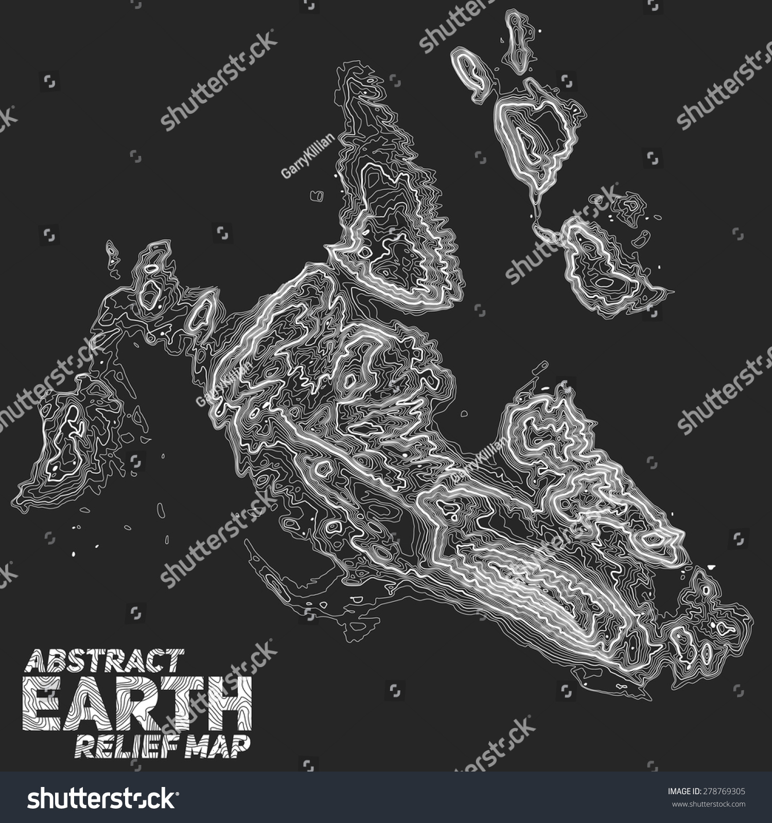 Vector Abstract Earth Relief Map Generated Stock Vector