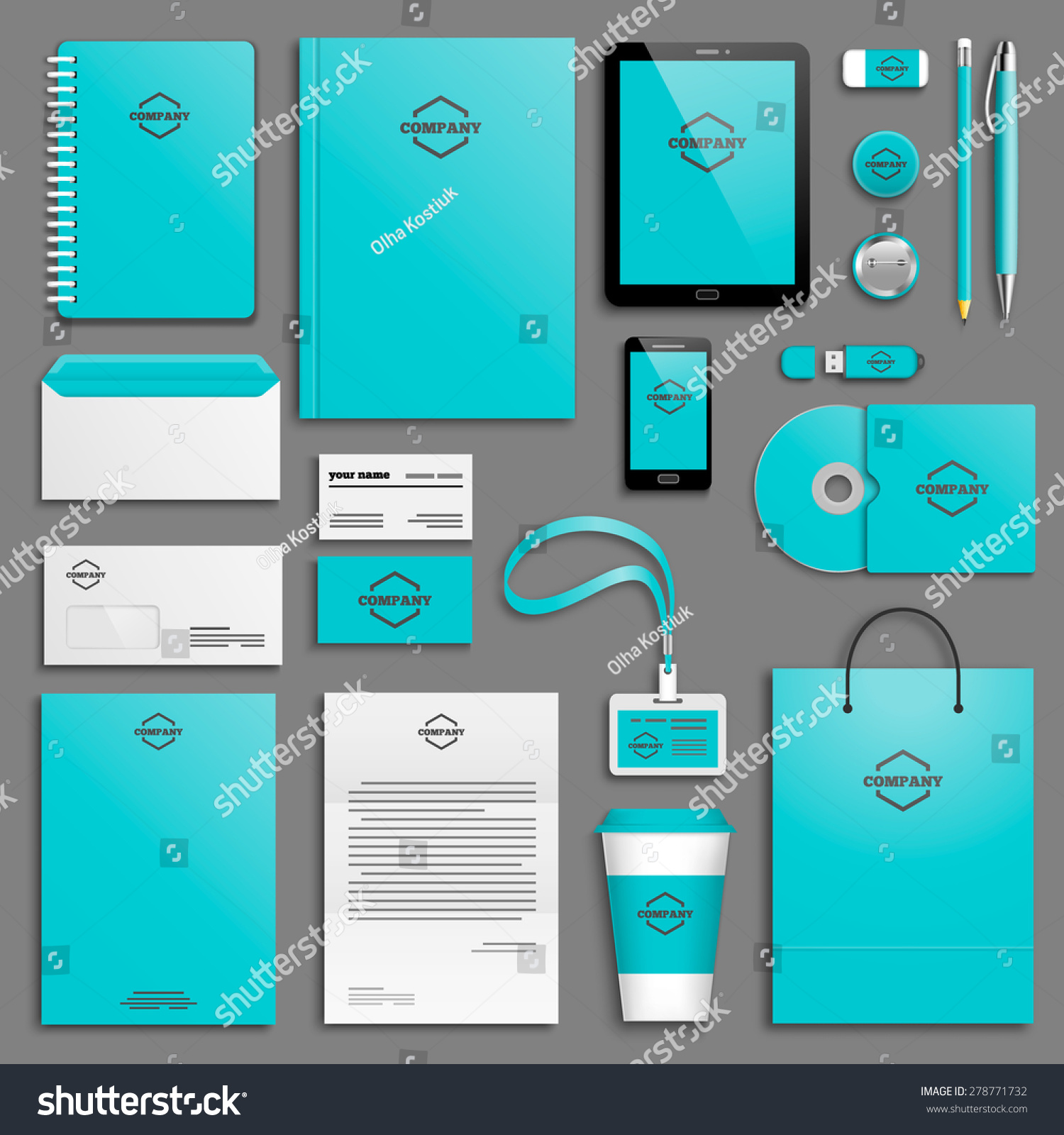 corporate identity template set business stationery stock vector