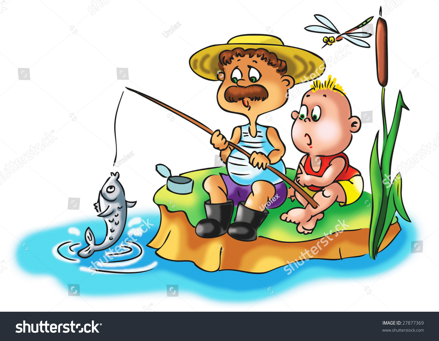 Fishing Boy And His Dad Stock Photo 27877369 : Shutterstock