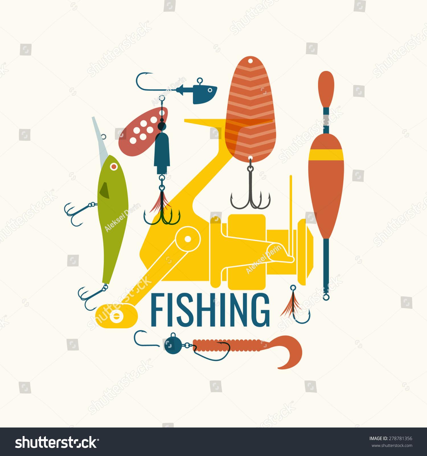 fishing reel, hooks, float, fishing line, lure, bait. vector, Reel Combo
