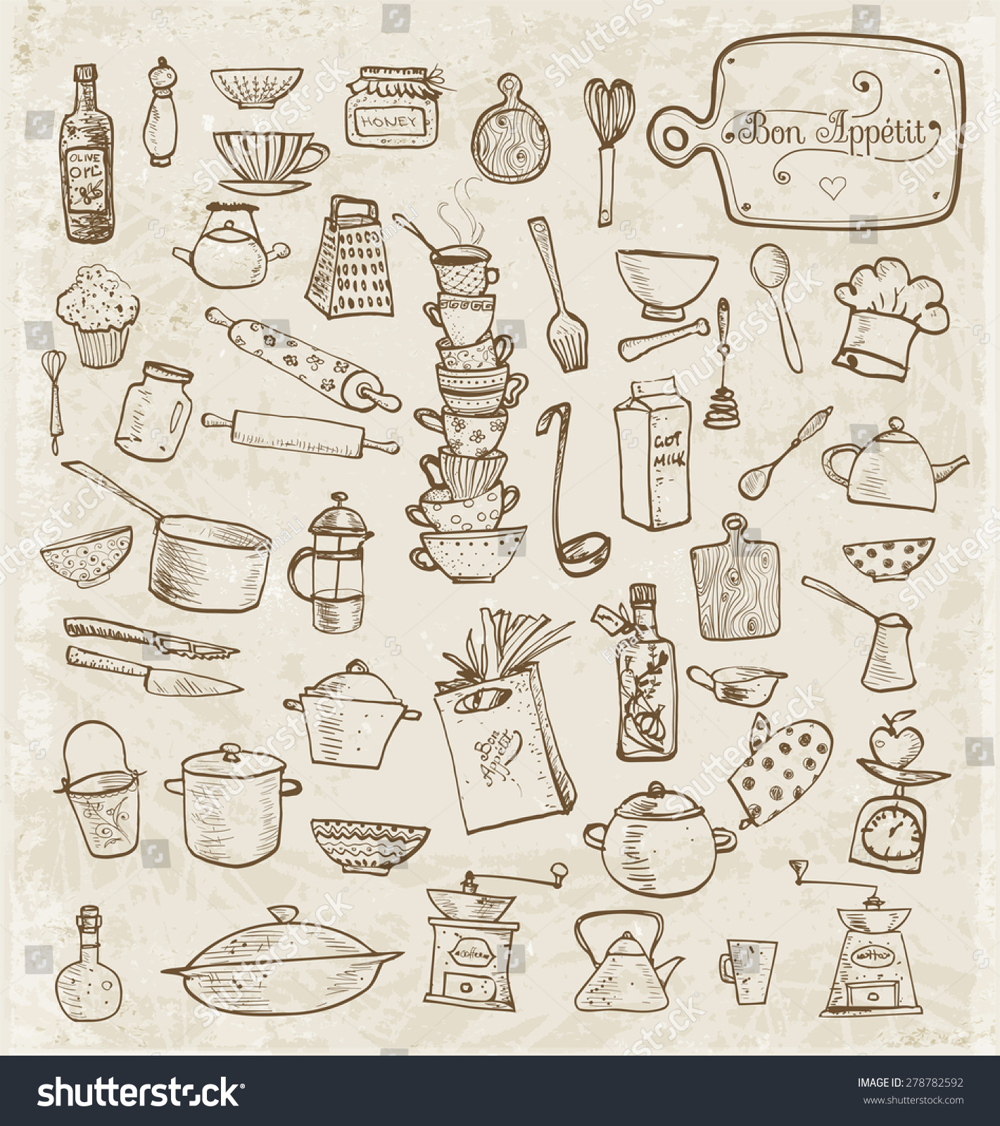 Big Set Vintage Kitchen Utensils Handdrawn Stock Vector