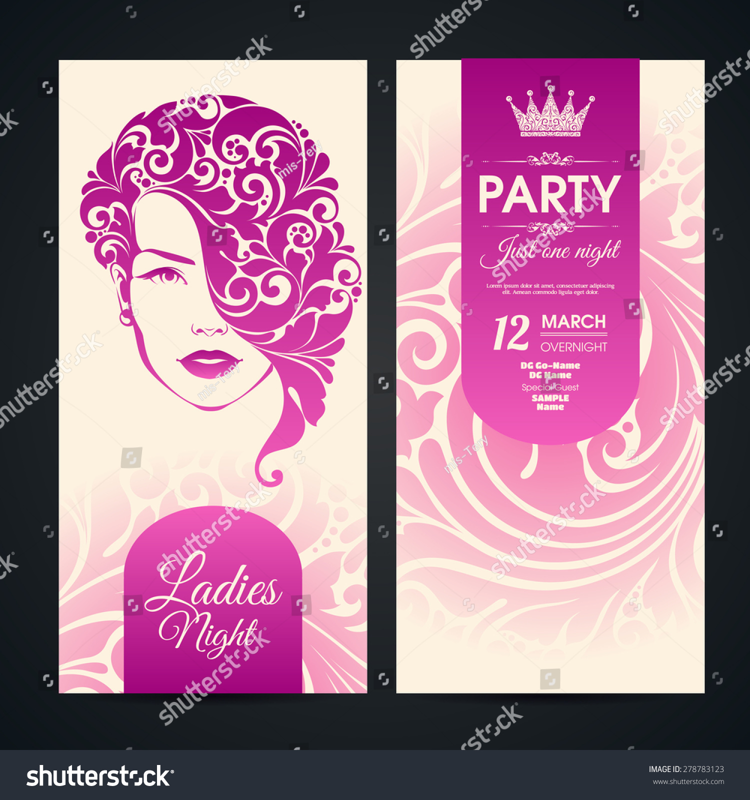 party invitation banners design ornate girl stock vector royalty