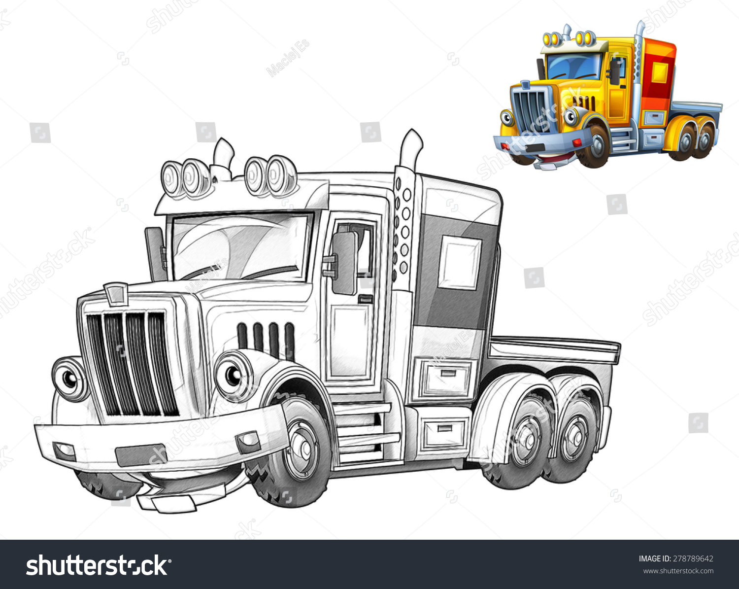 cartoon truck caricature coloring page illustration stock