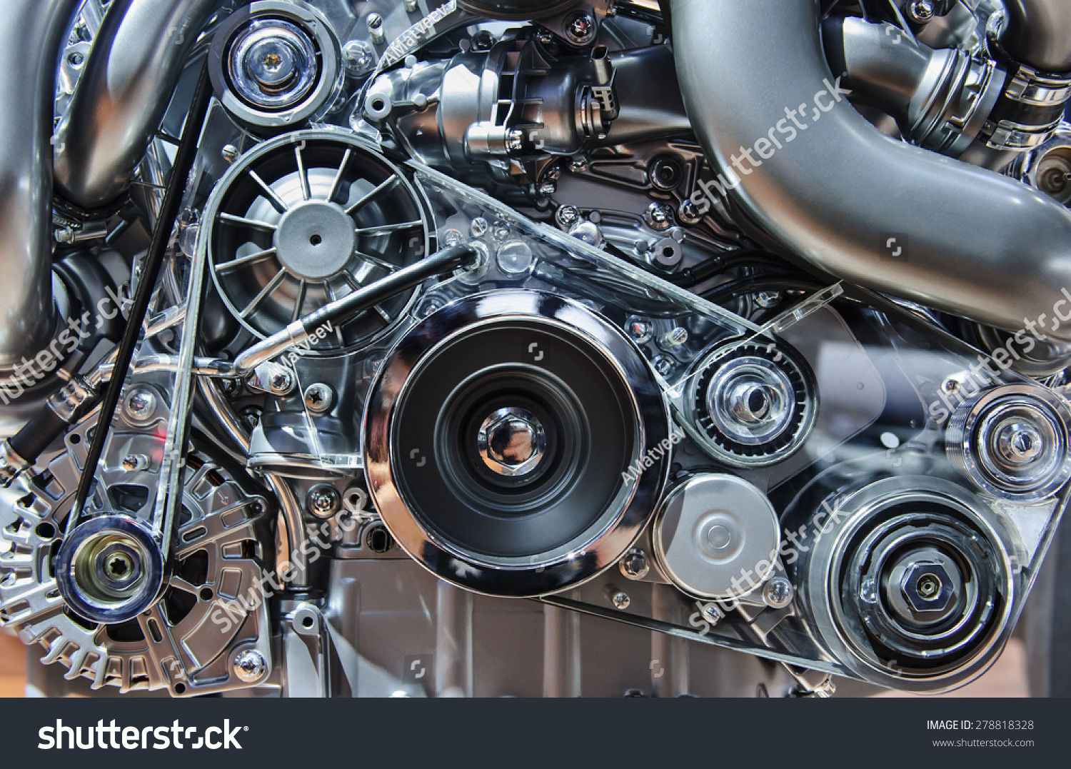 Car Engine Modern Automobile Motor Metal Stock Photo