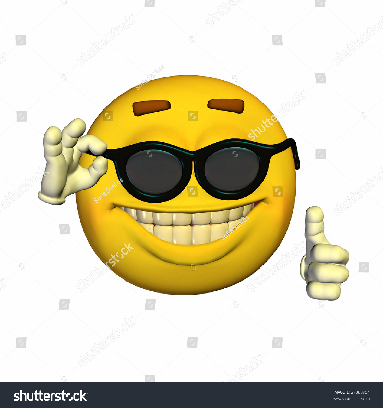 Cool Yellow Emoticon Guy Dark Glasses Stock Illustration ...