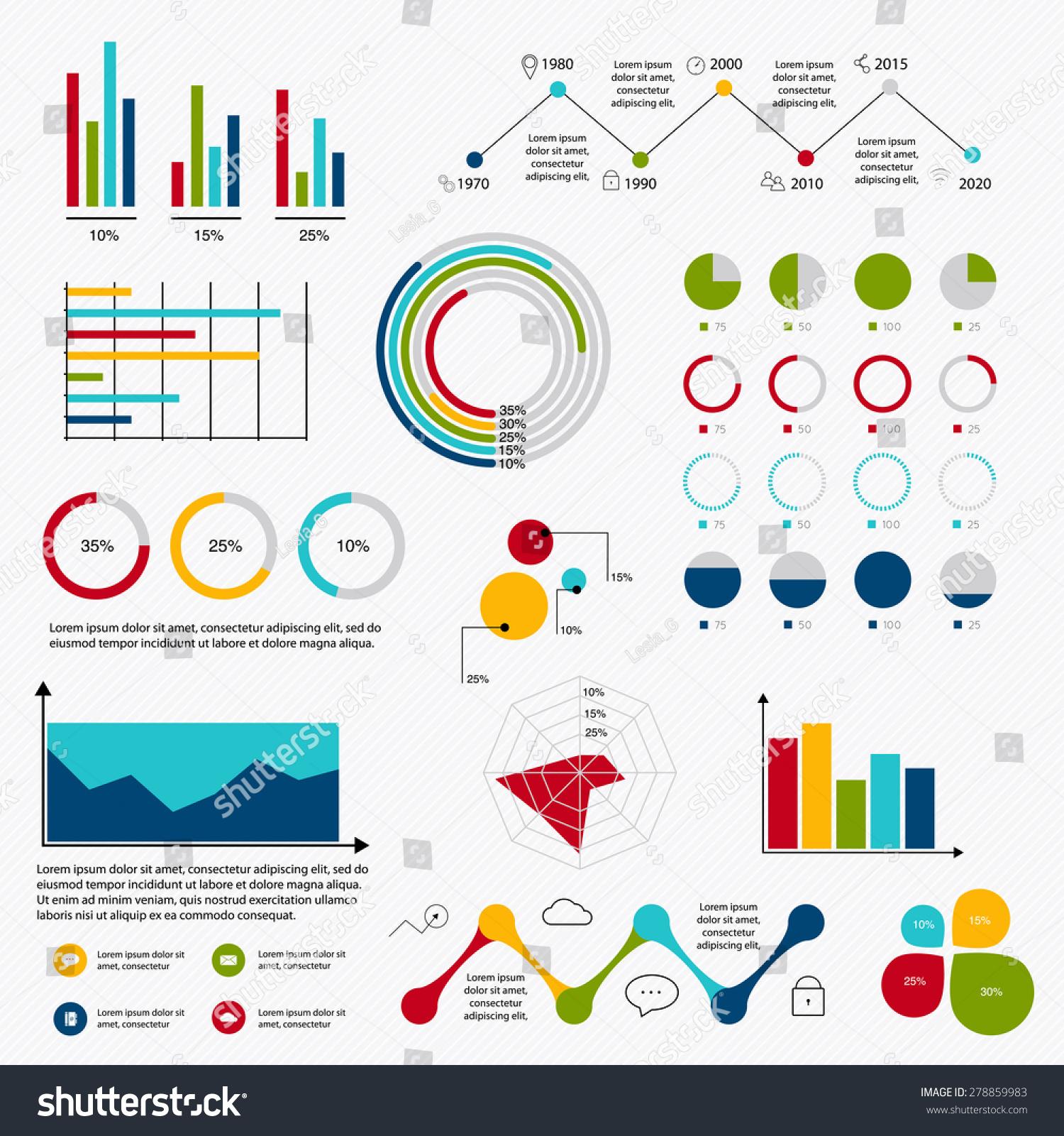 Business Data Market Elements Dot Bar Stock Vector