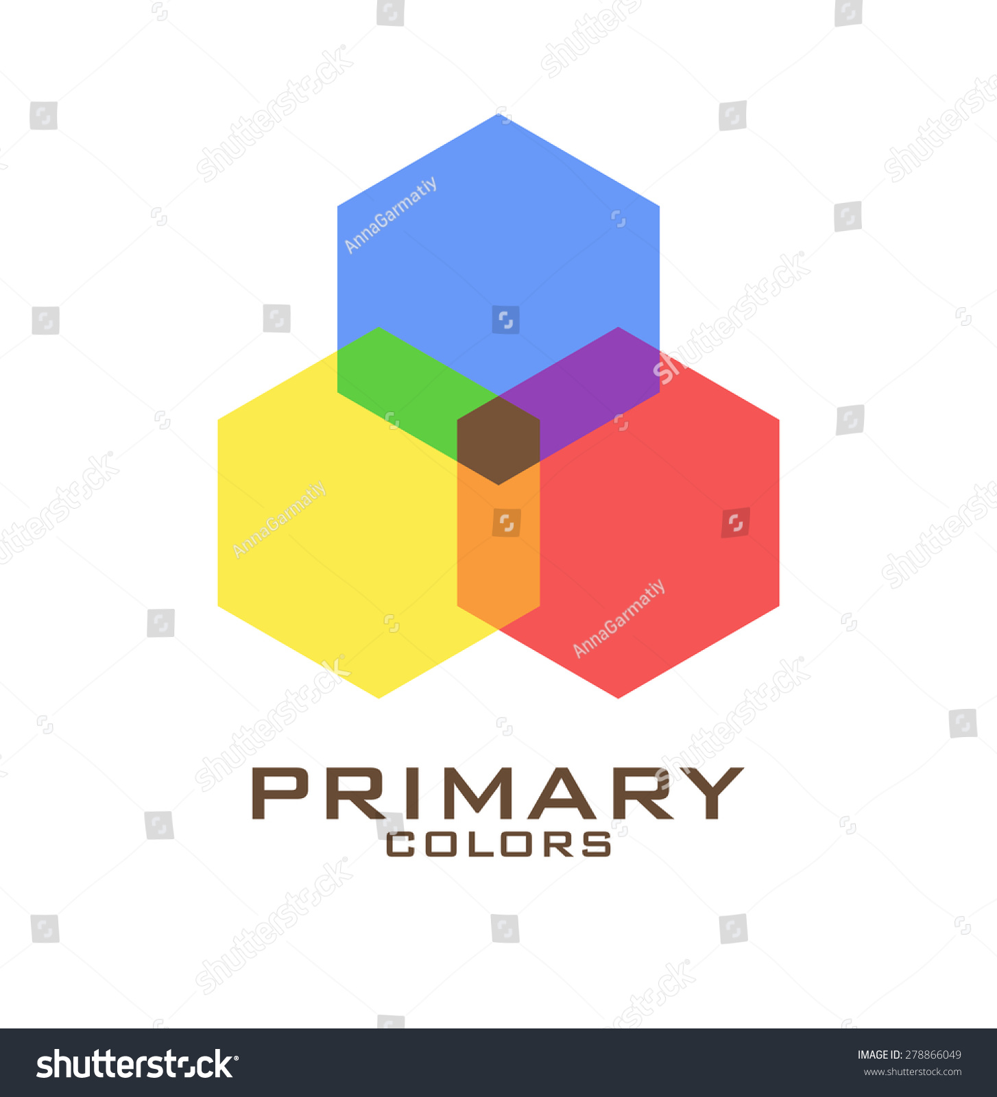 Primary color logo design template. Three hexagons of primary colors ...