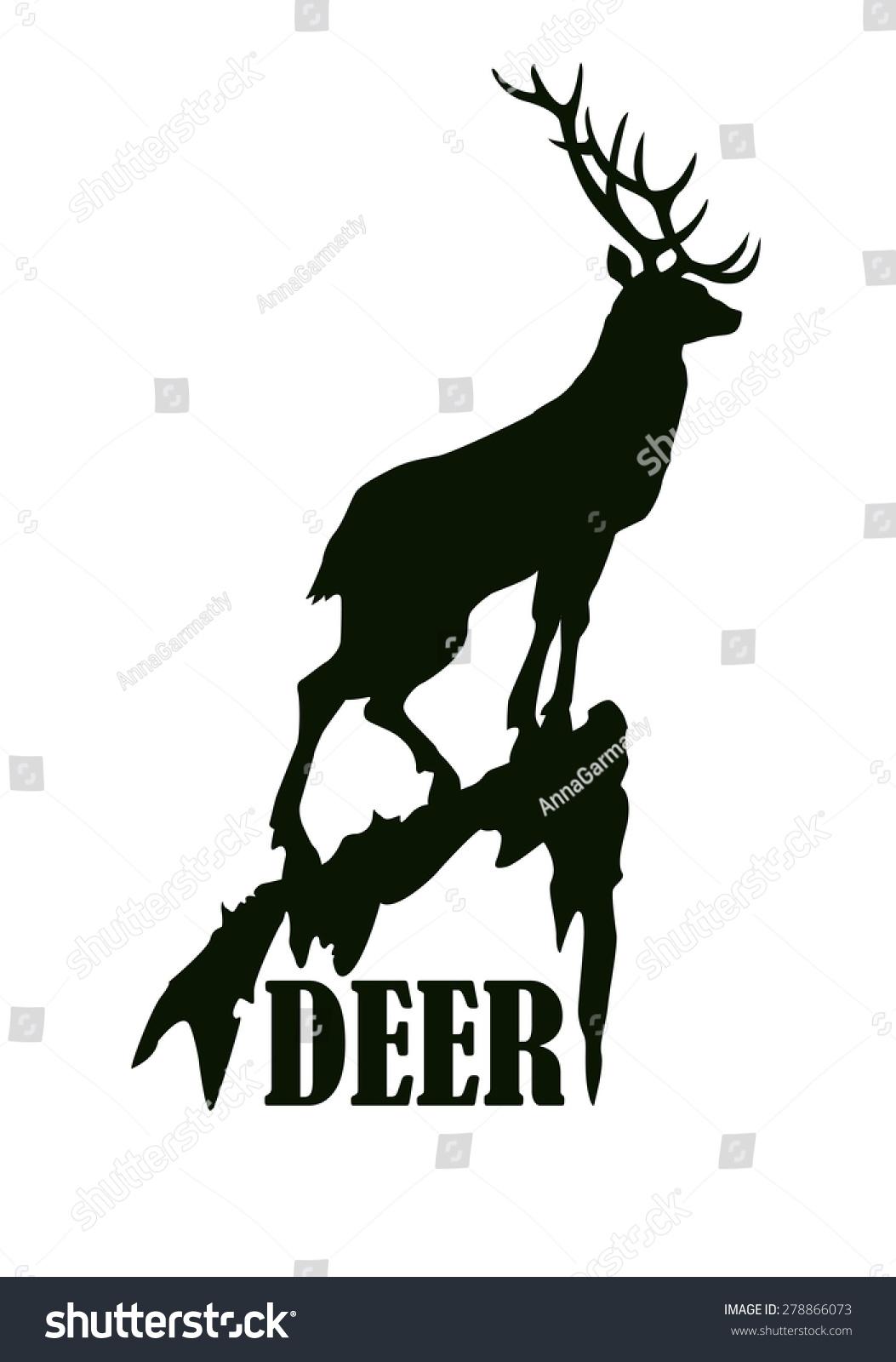 deer on rock logo design template stock vector 278866073