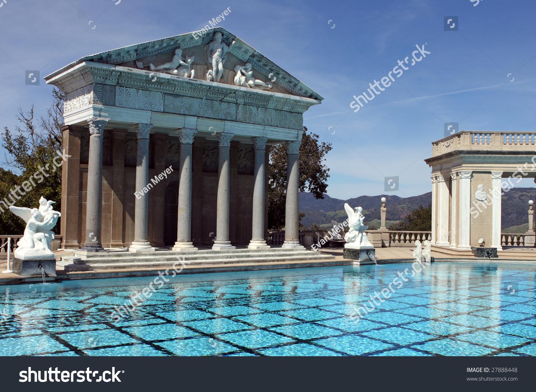 Roman style swimming pool mountains california stock photo for Elaborate swimming pools