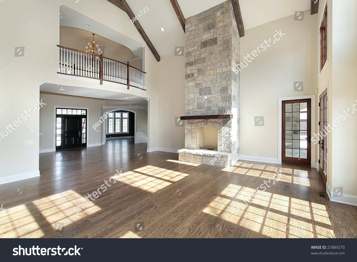 Great Room Two Story Stone Fireplace Stock Photo 27889270