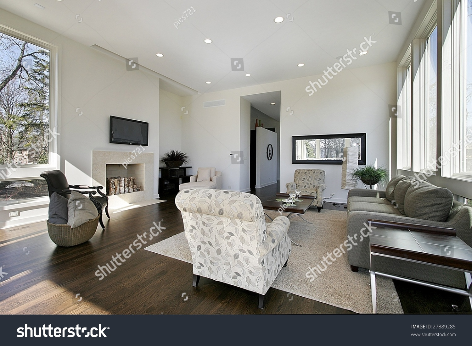 Sleek living room in upscale home stock photo 27889285 for Sleek living room