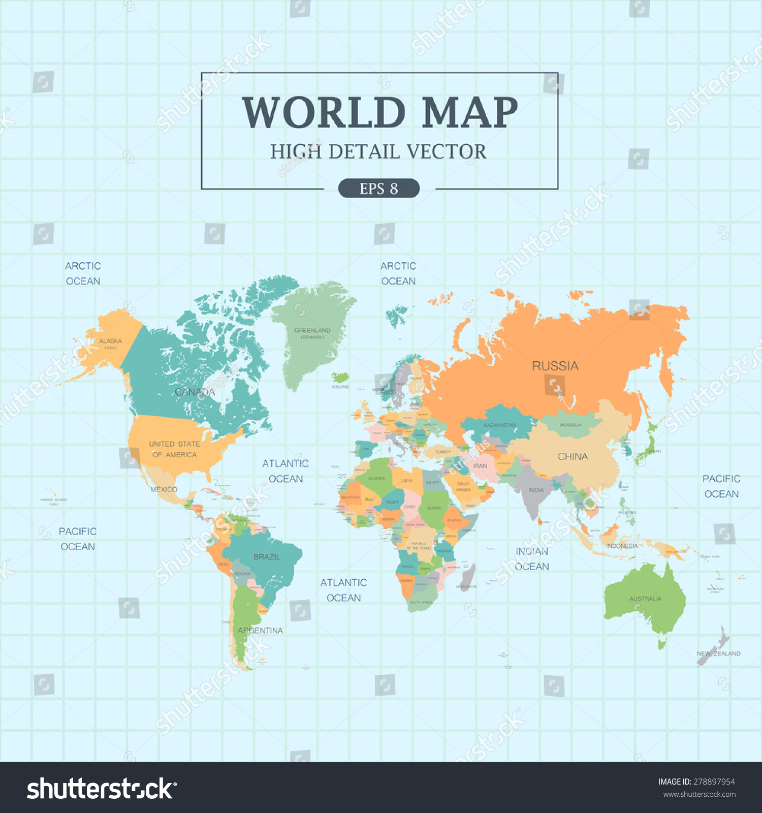 World map full color high detail stock vector 278897954 shutterstock world map full color high detail separated all countries vector illustration gumiabroncs Gallery
