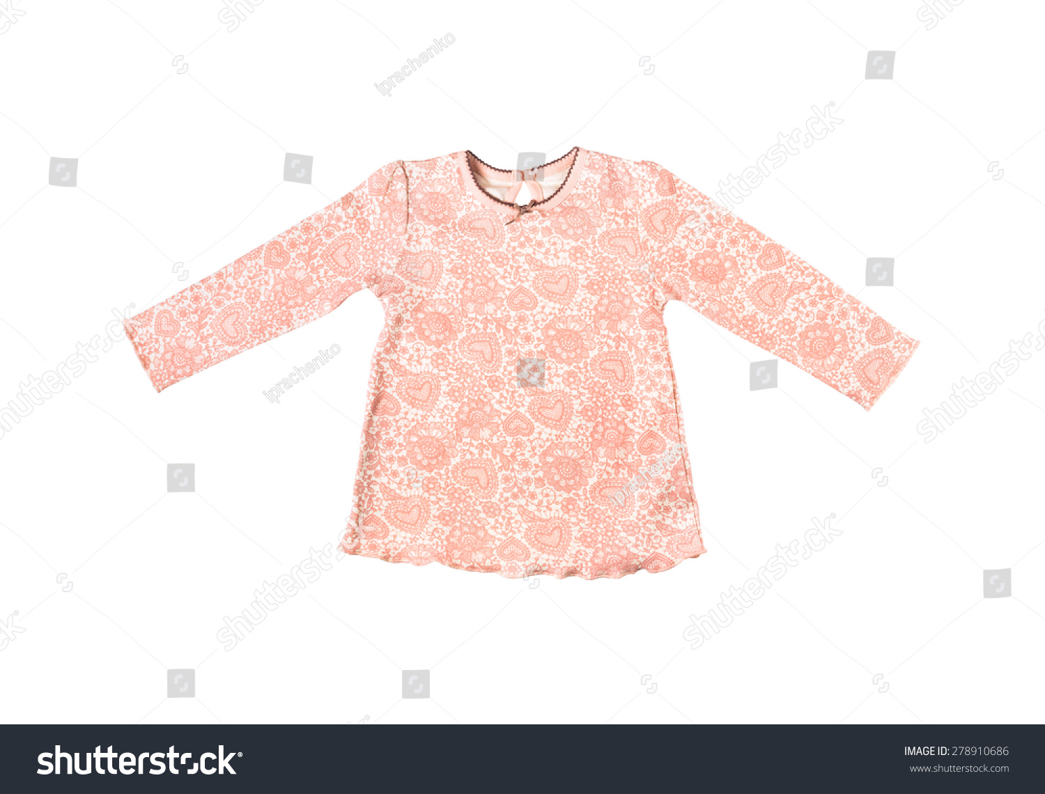 The Little Girl'S Pink Tshirt With Long Sleeves In Flowers ...