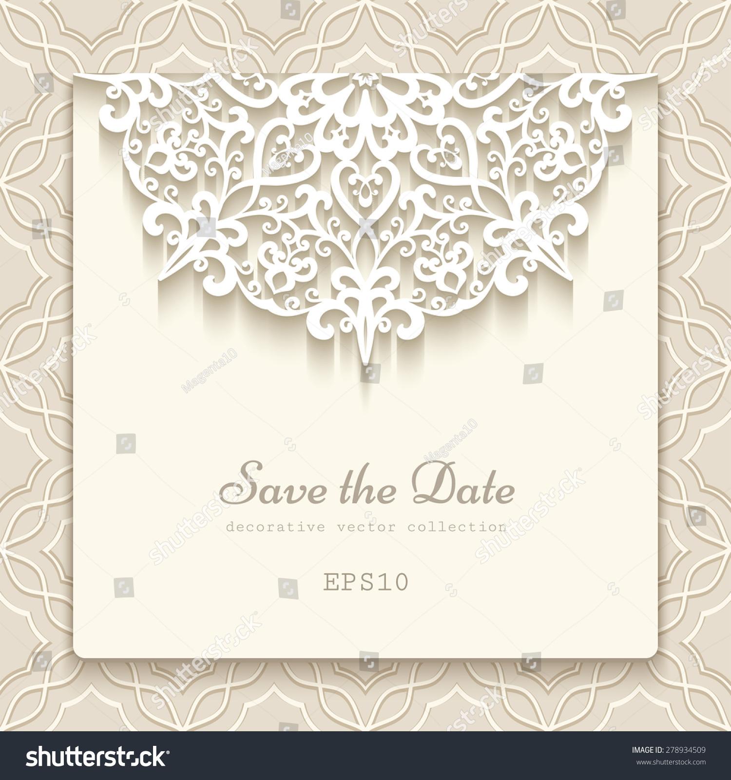 elegant save date card lace decoration のベクター画像素材