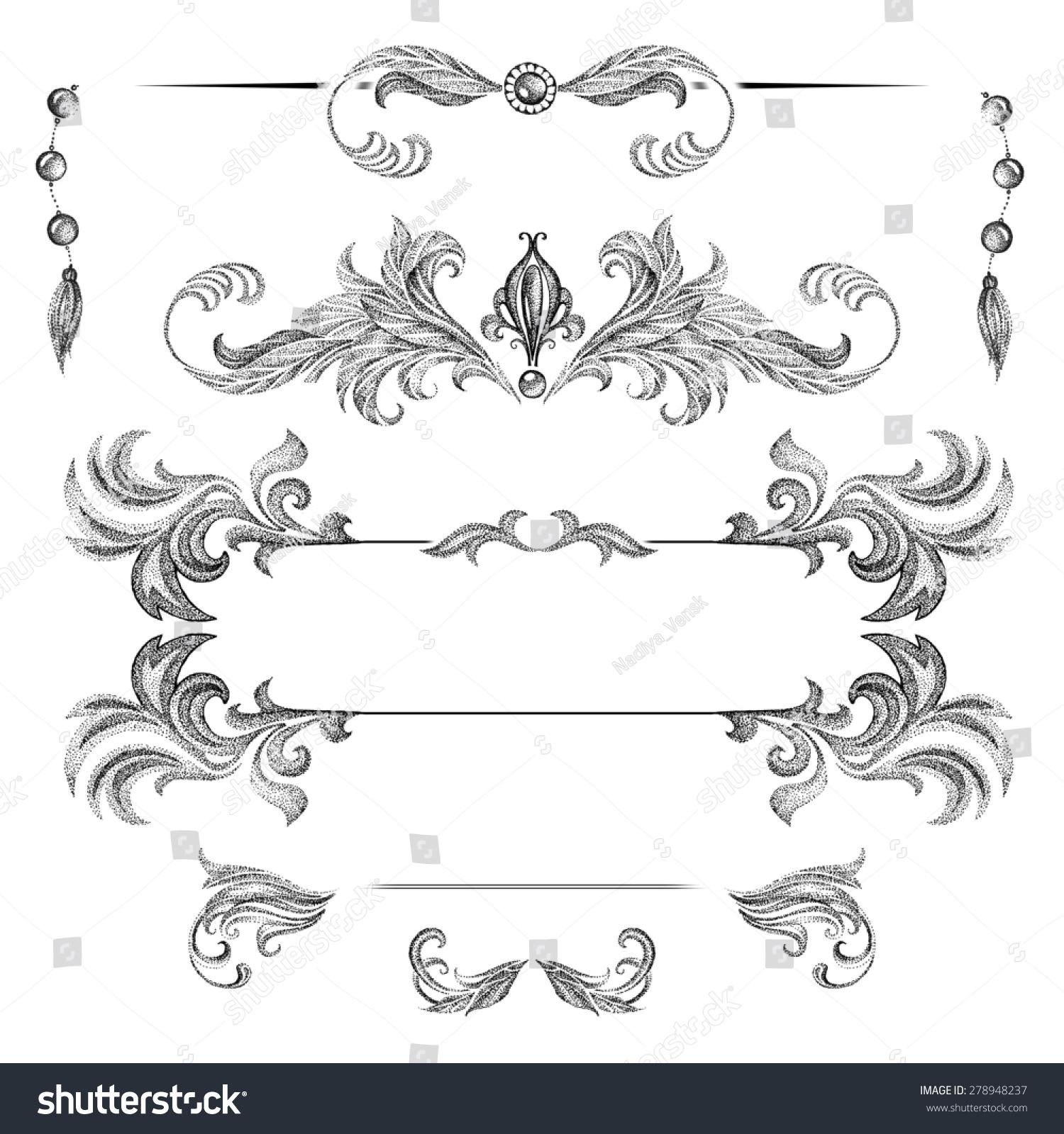 Set Decorative Frames Design Elements Cards Stock Illustration ...