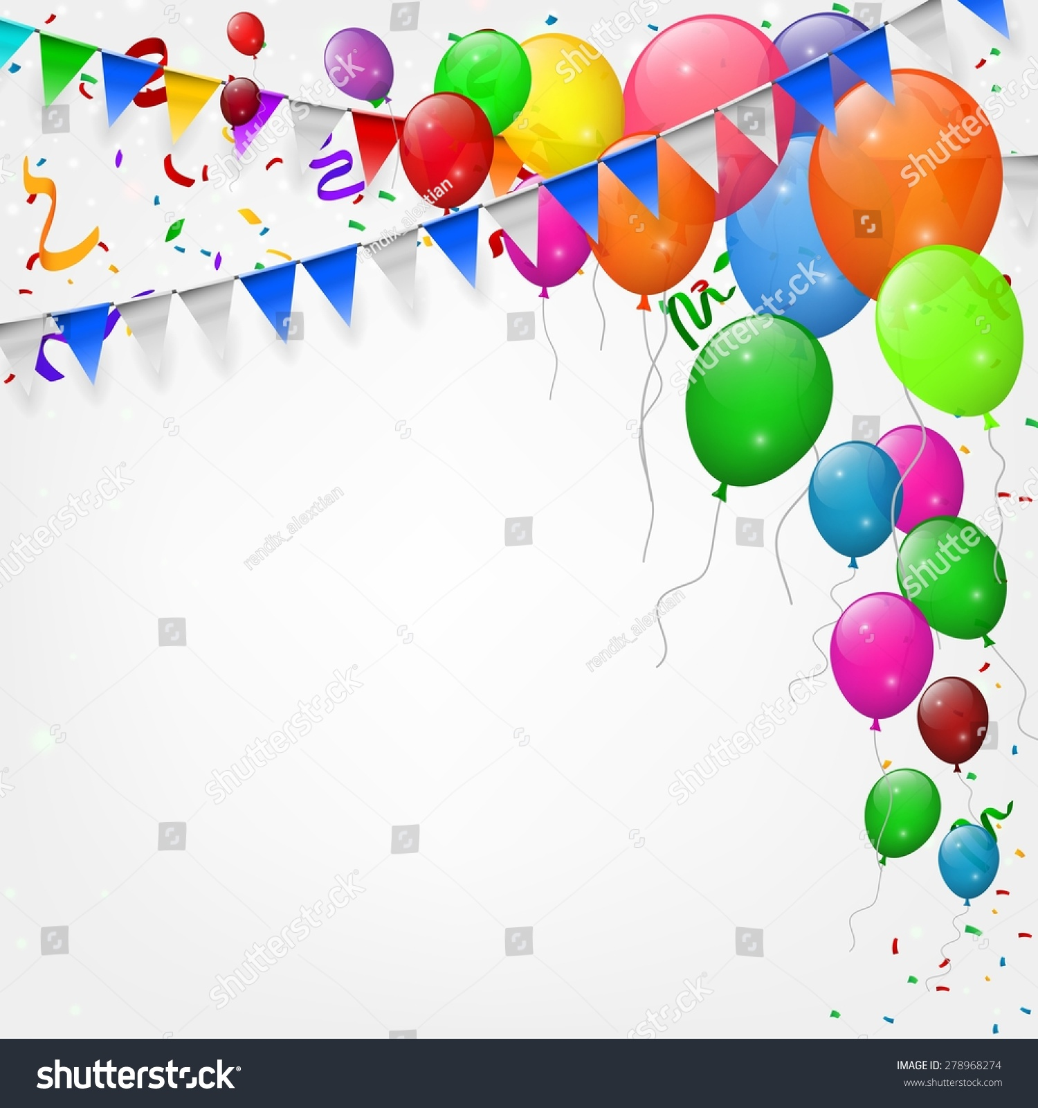 Happy Birthday Party Balloons Ribbons Background Stock
