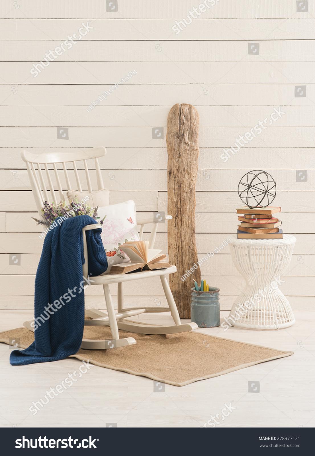 Pleasant Wood Wall Interior Rocking Chair Corner Stock Photo Edit Download Free Architecture Designs Rallybritishbridgeorg