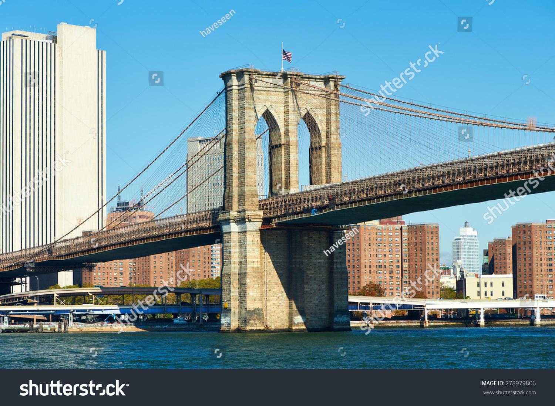 lower manhattan skyline brooklyn bridge new stock photo 278979806 shutterstock. Black Bedroom Furniture Sets. Home Design Ideas