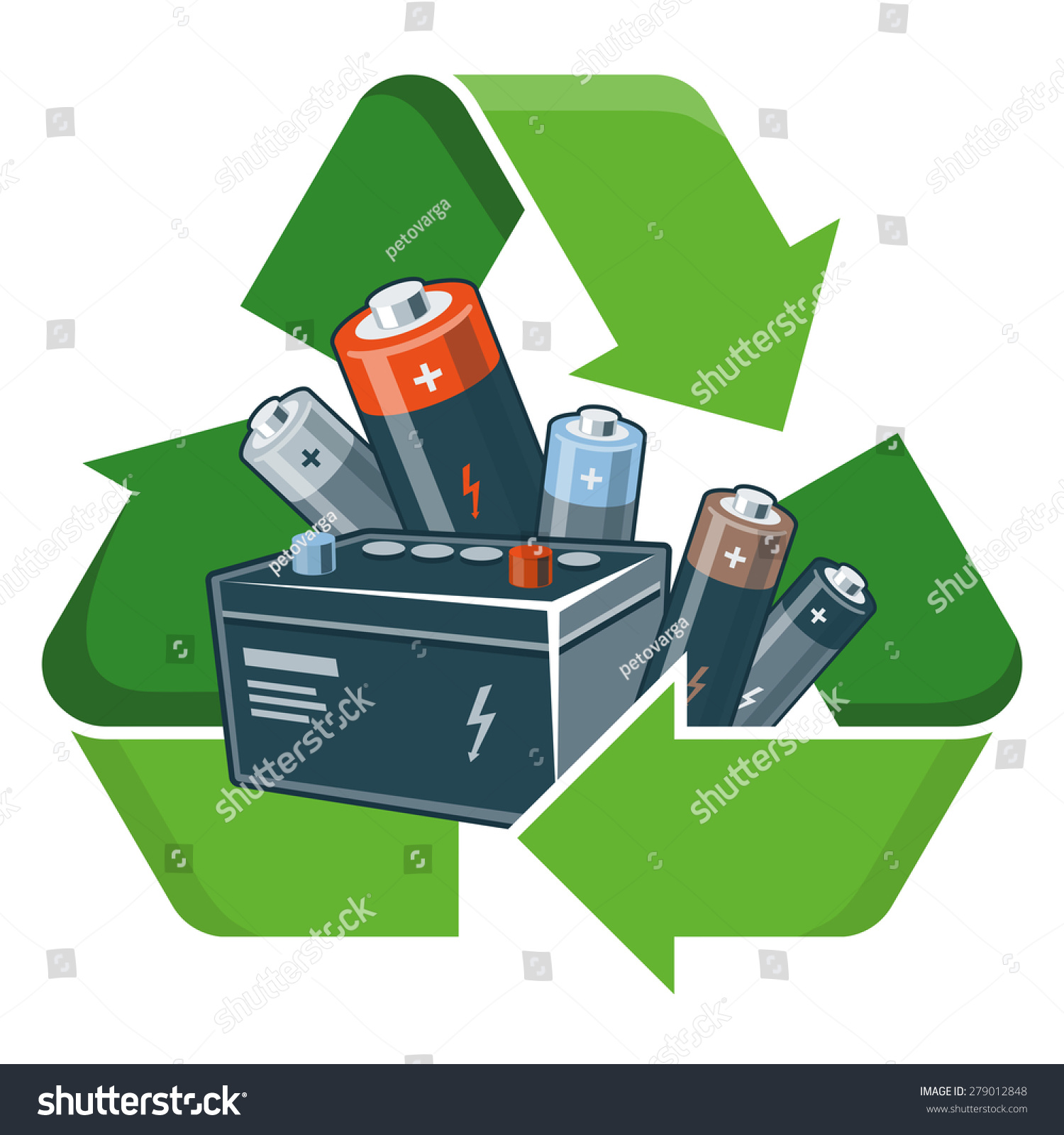 E waste background images - Used Batteries With Green Recycling Symbol In Cartoon Style Isolated Vector Illustration On White Background