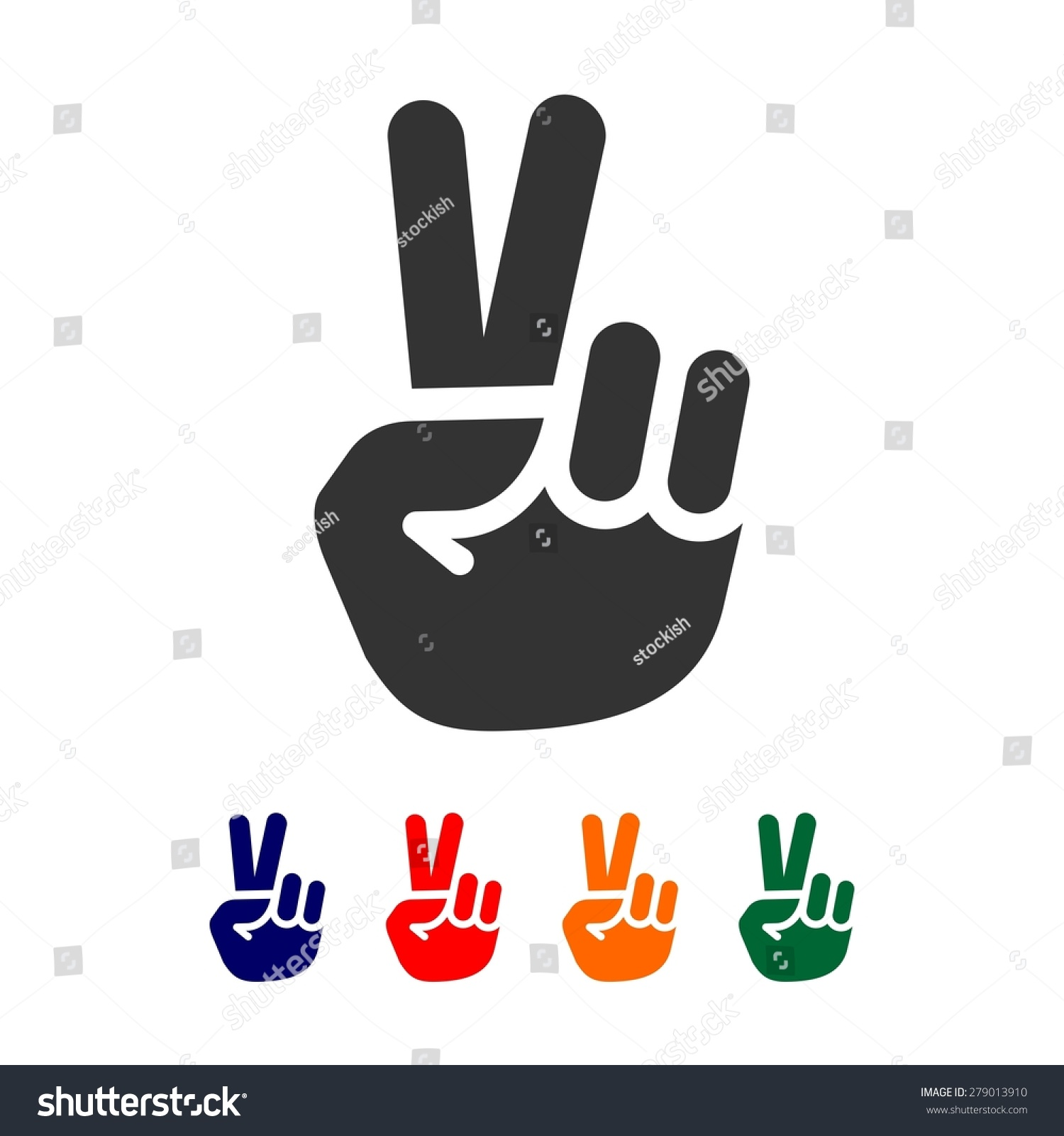 vector peace sign hand showing two fingers logo design