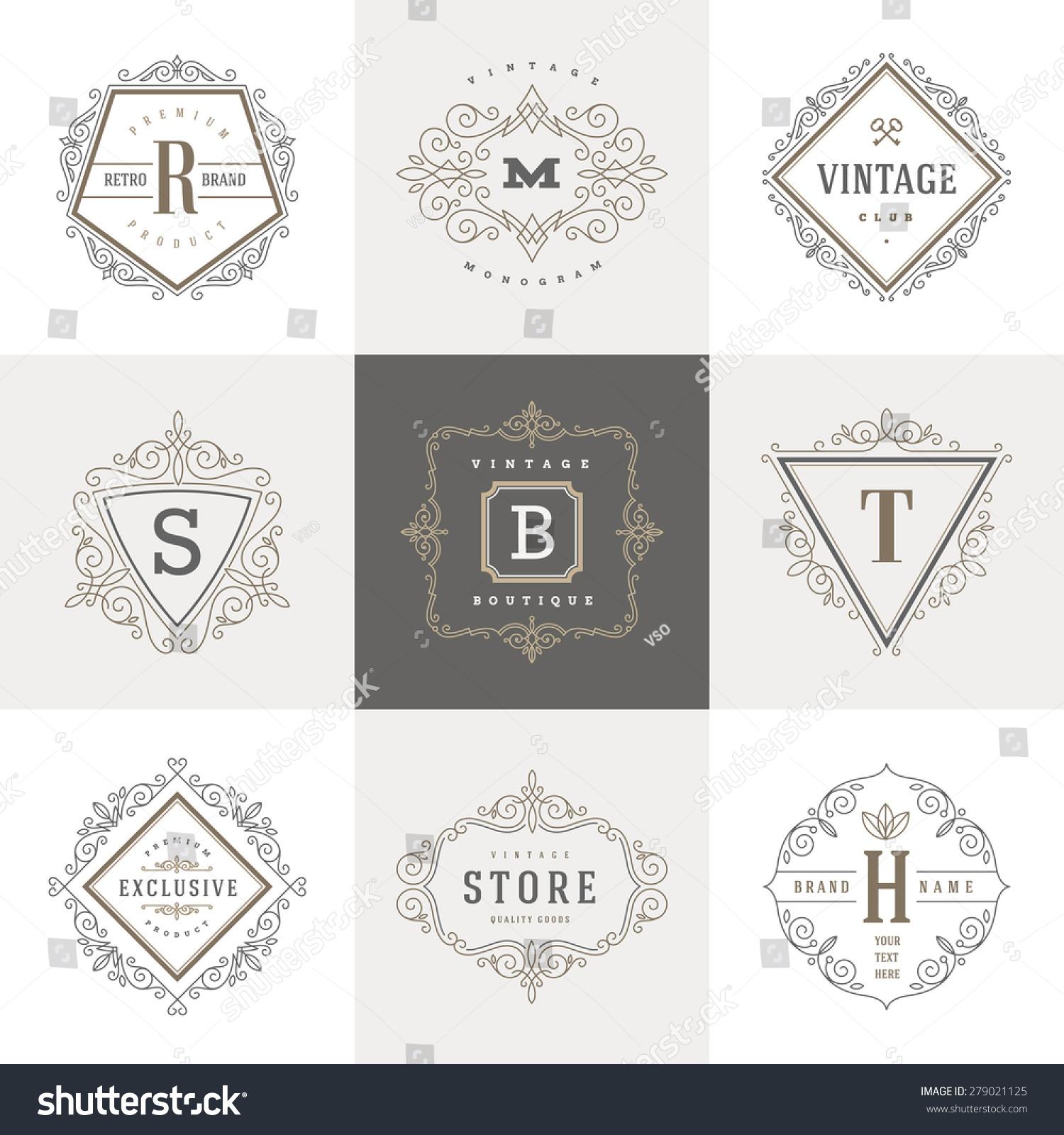 Monogram Logo Template Flourishes Calligraphic Elegant Stock ...
