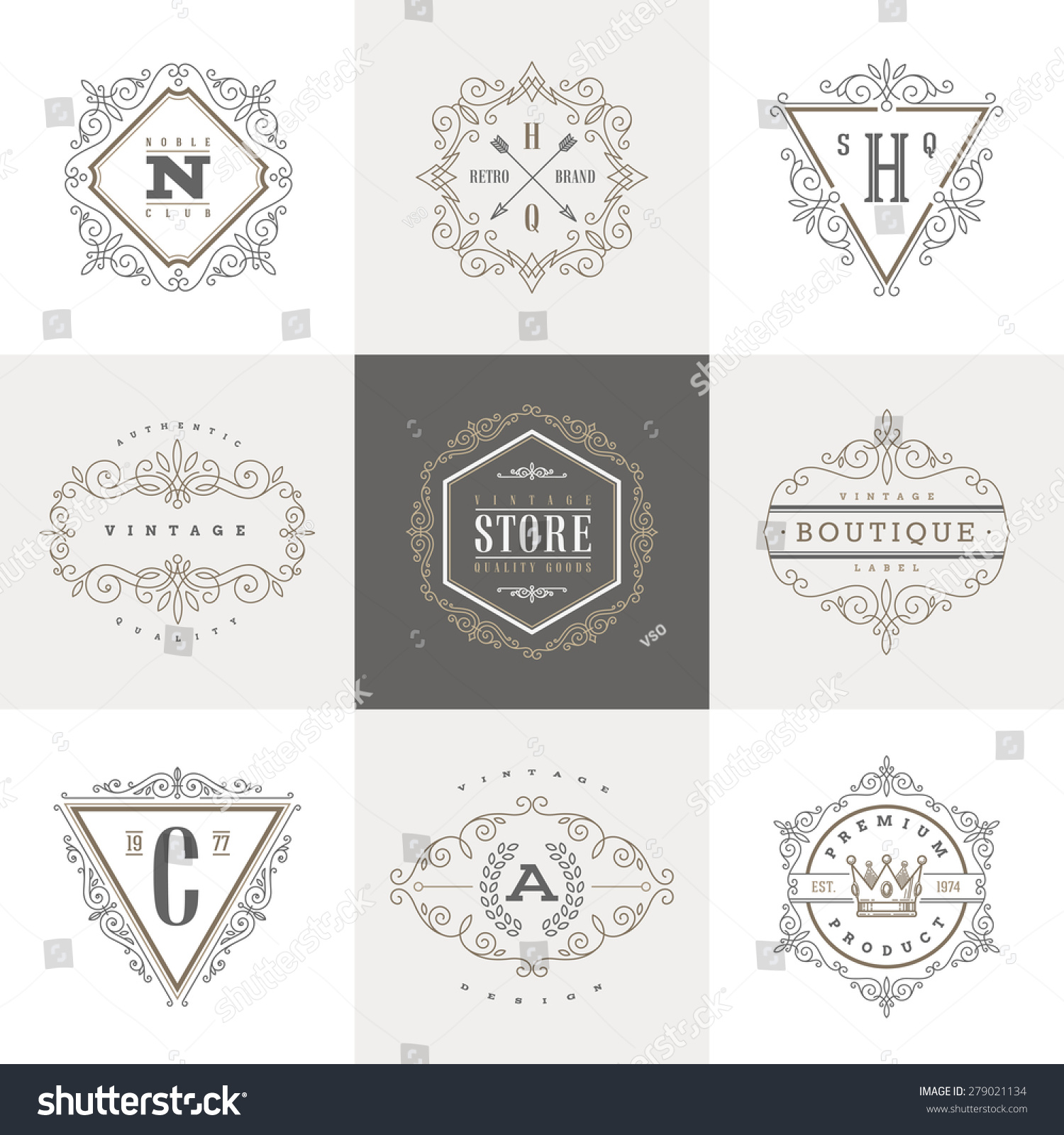 Monogram logo template with flourishes calligraphic elegant ornament elements Identity design with letter for cafe shop store restaurant boutique hotel heraldic fashion and etc