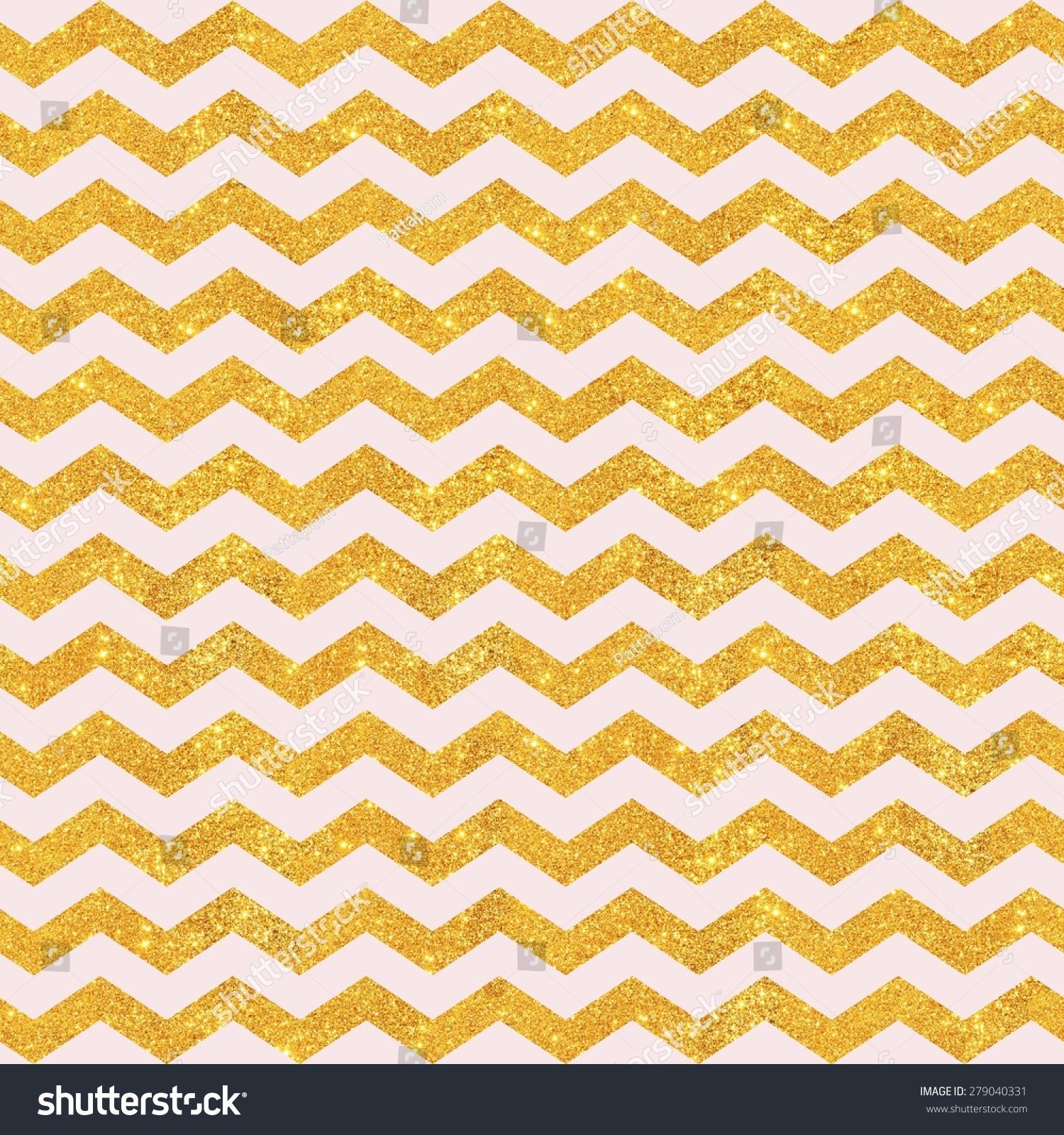 Pink Gold Glitter Large Chevron Pattern Seamless Texture Background Digital Paper For Scrapbook