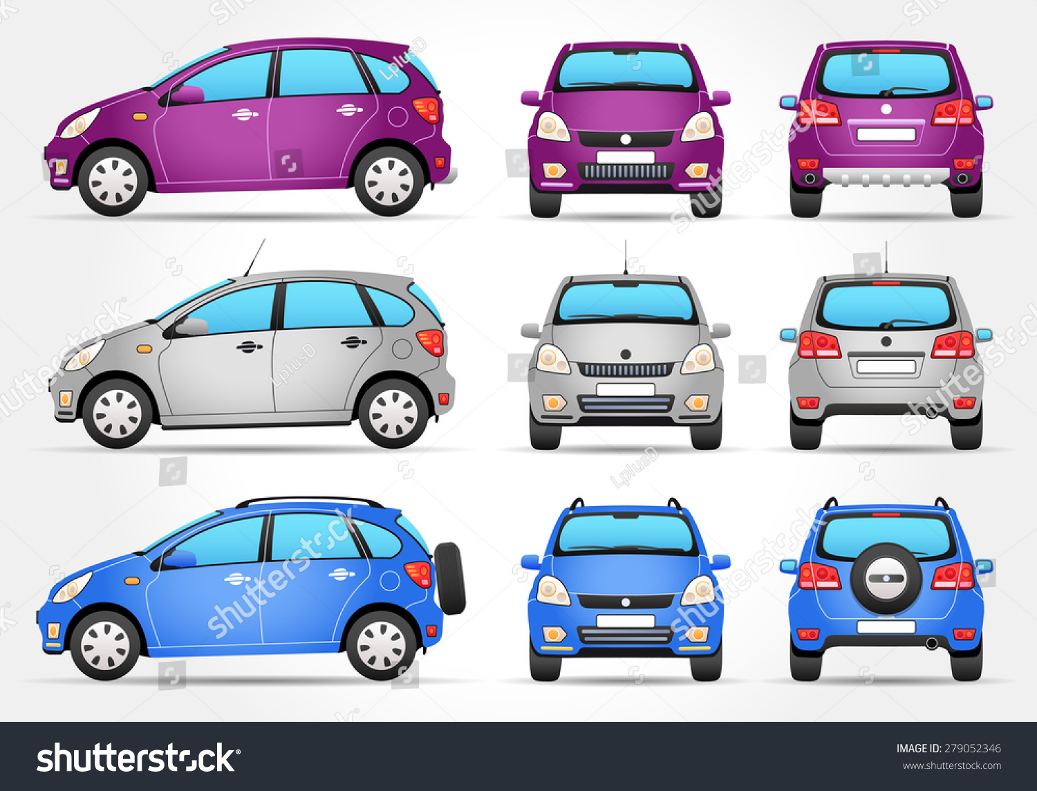 Vector Suv Car Side Front Back Stock Vector Shutterstock