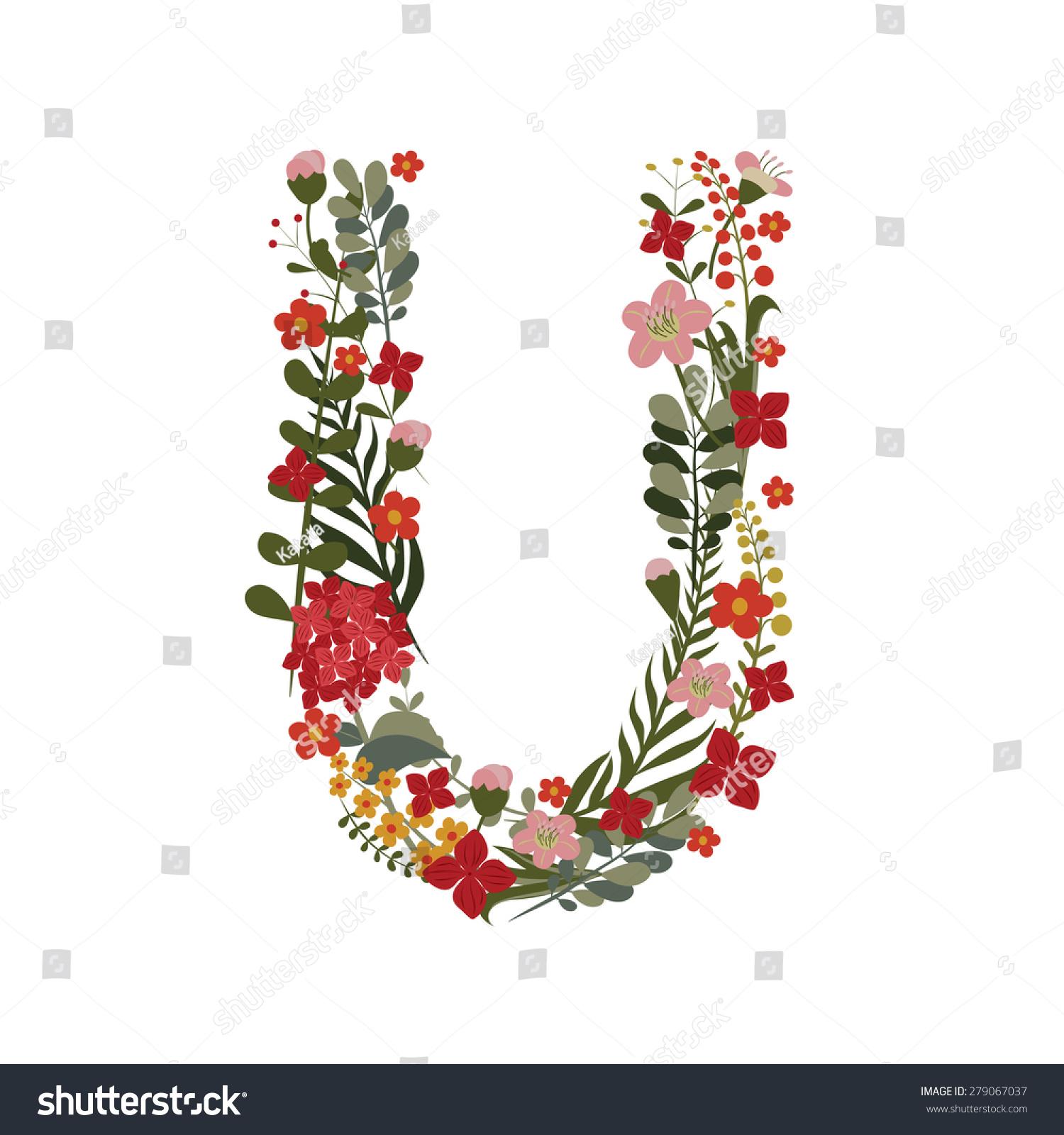 Letter U 21 Letter Alphabet Vector Stock Vector