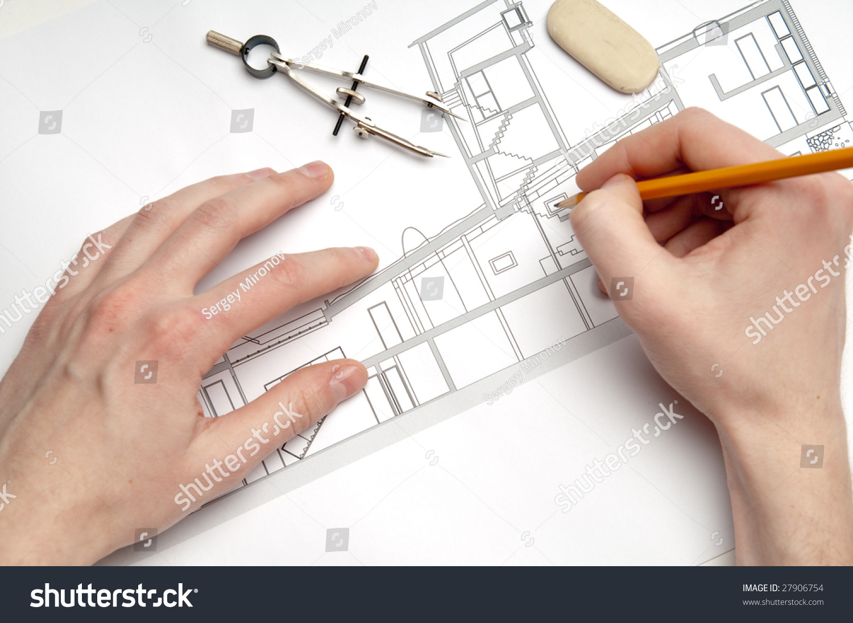 architecture blueprint amp tools stock photo 27906754