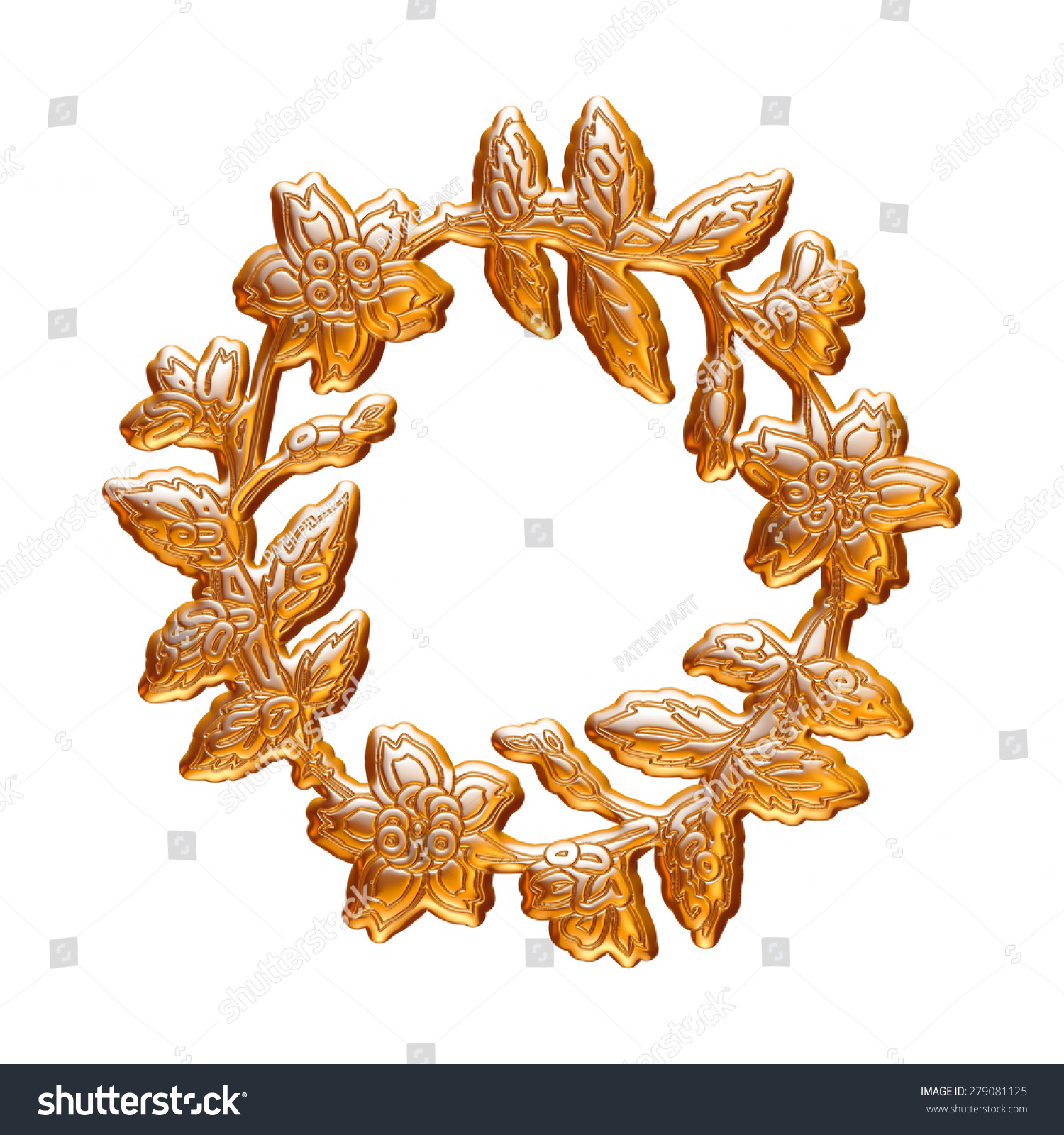 Christmas garland in gold on isolated white background
