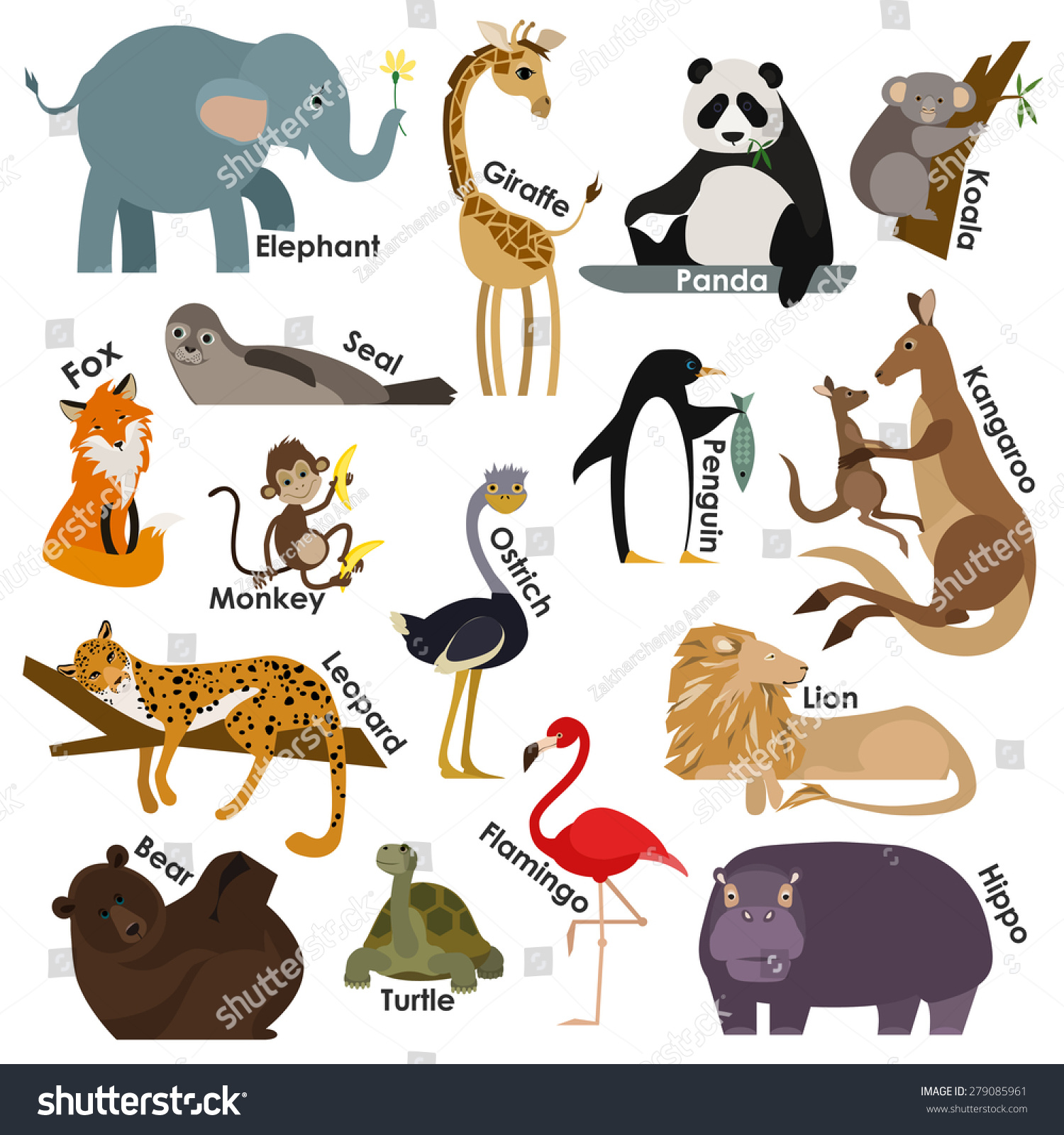 Set of zoo cartoon animals Flat style design icons set Vector illustration